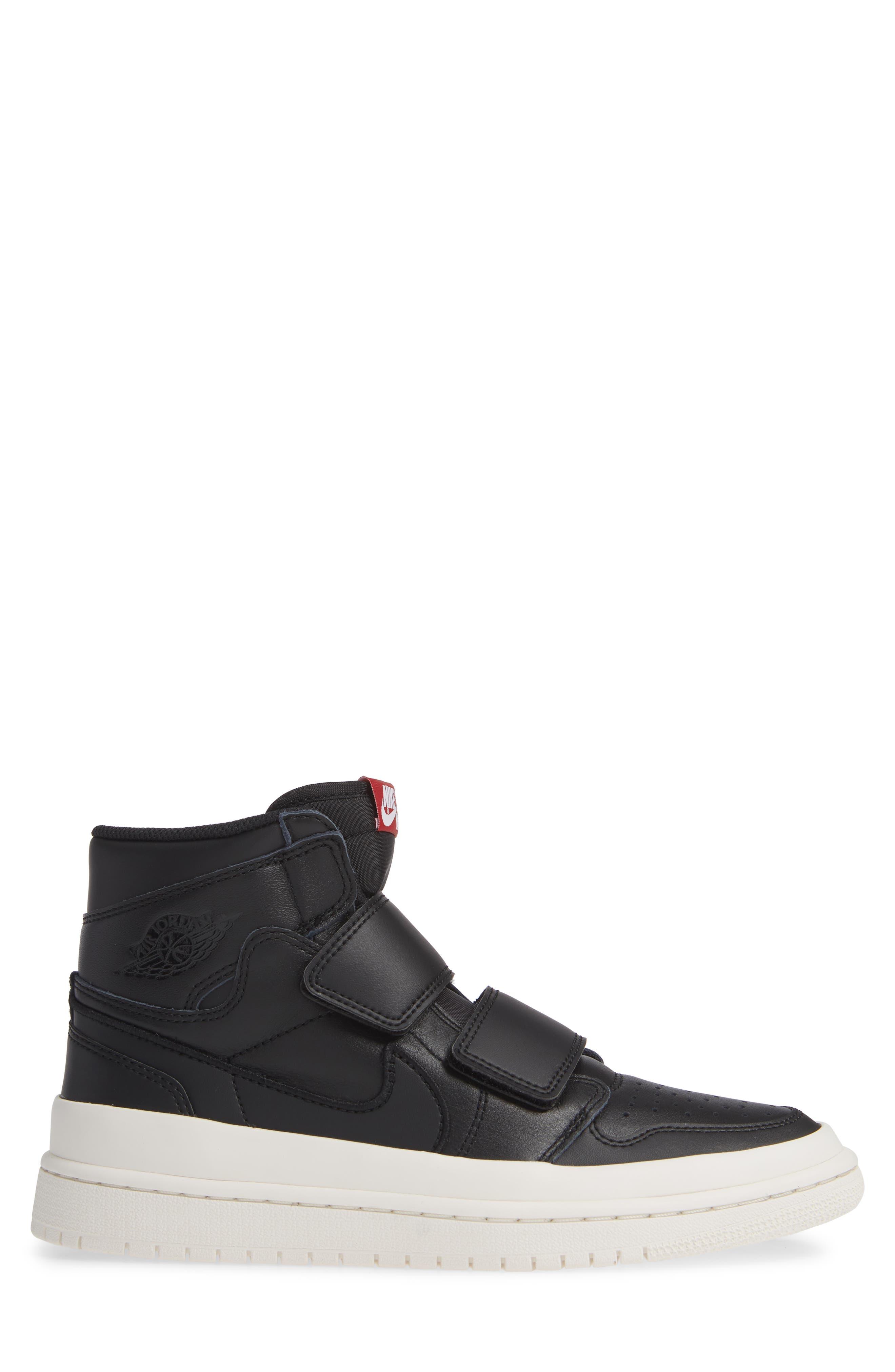 Air Jordan 1 Retro High Double Strap Sneaker,                             Alternate thumbnail 3, color,                             BLACK/ GYM RED