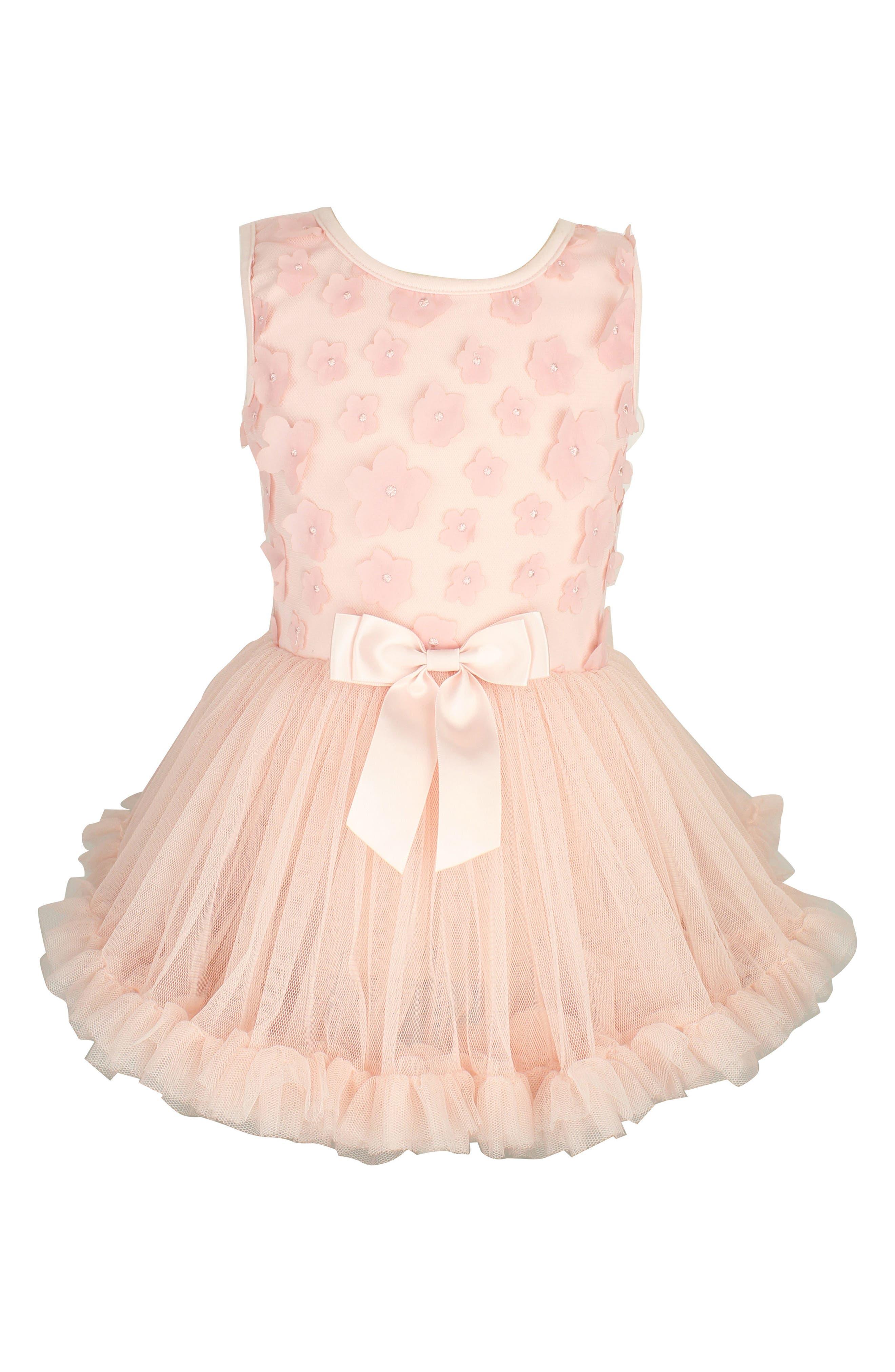 Flower Appliqué Tutu Dress,                         Main,                         color, PINK