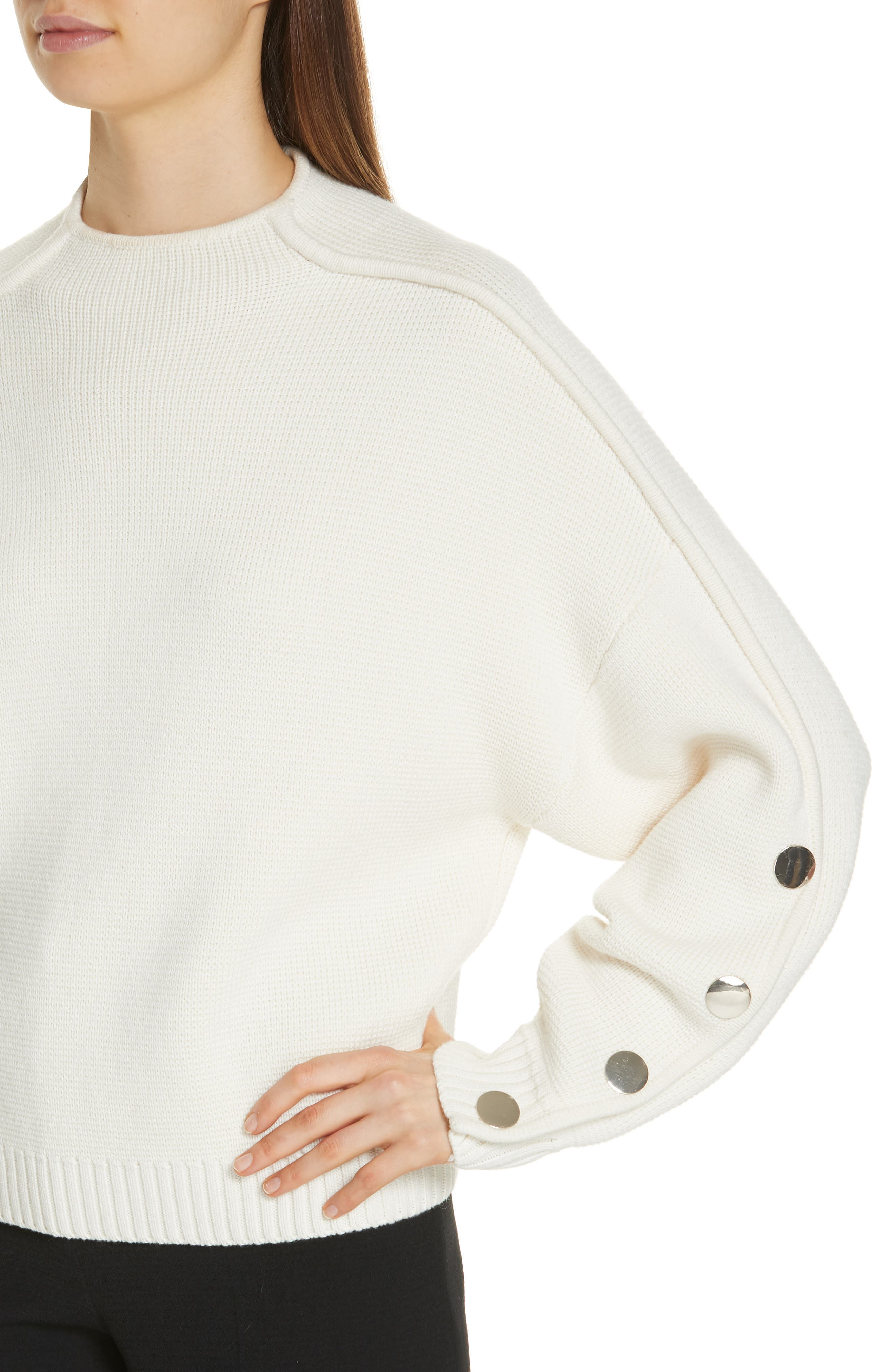 Astana Button Sleeve Waffle Weave Cotton Wool Sweater,                             Alternate thumbnail 4, color,                             900