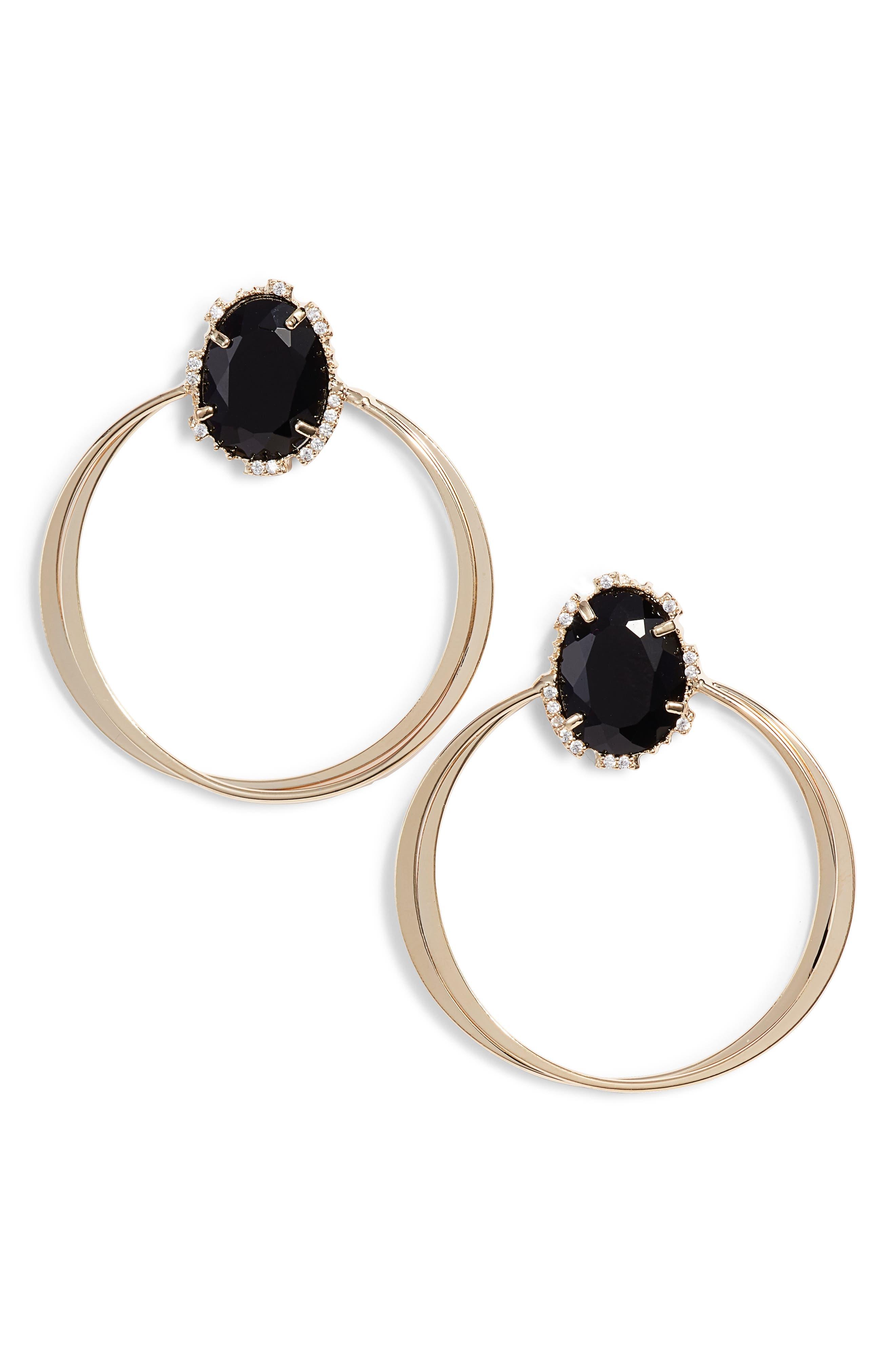 SEREFINA Crystal Hoop Earrings in Black/ Gold