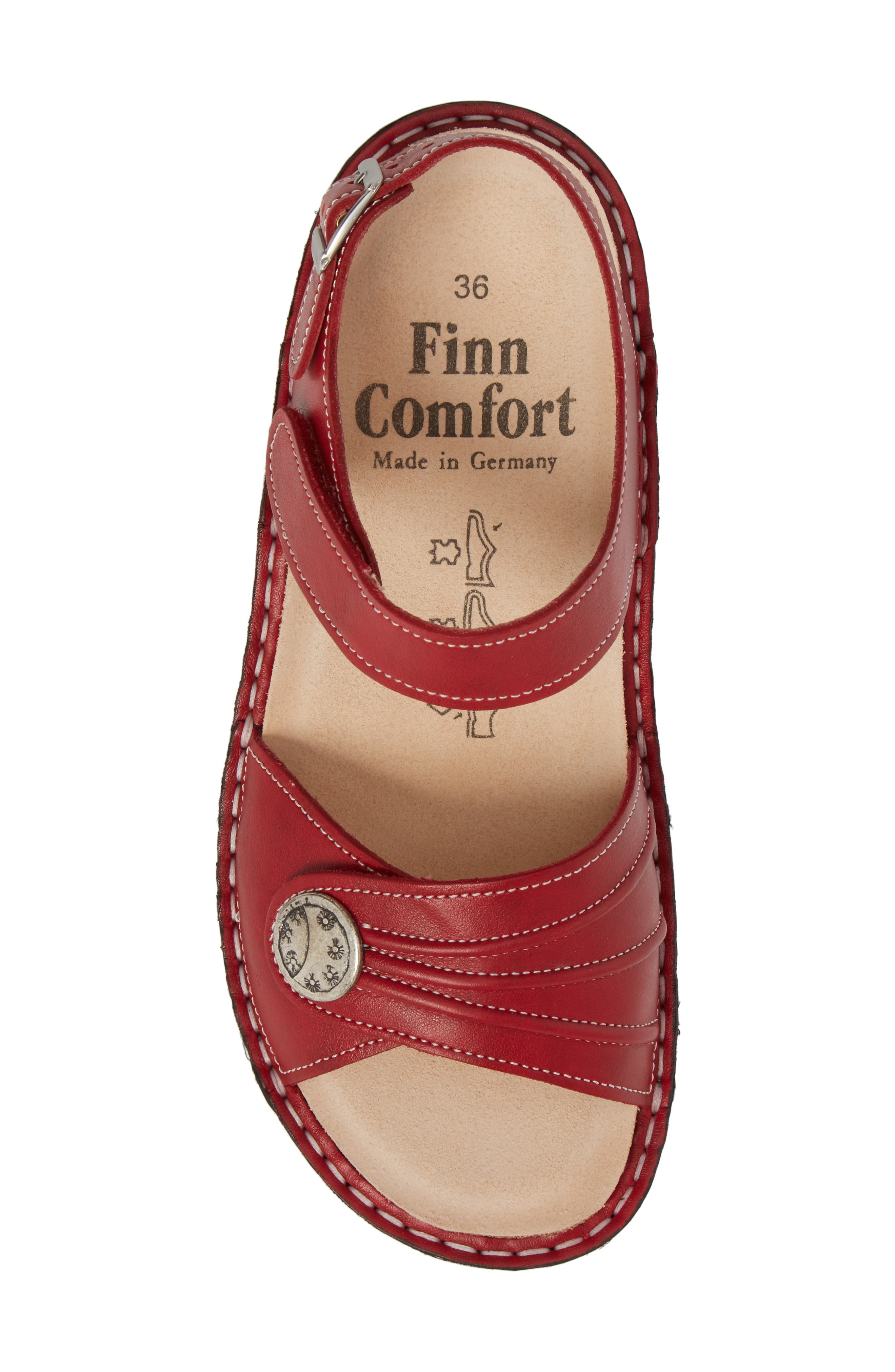 FINNAMIC by Finn Comfort 'Sausalito' Sandal,                             Alternate thumbnail 5, color,                             RED LEATHER