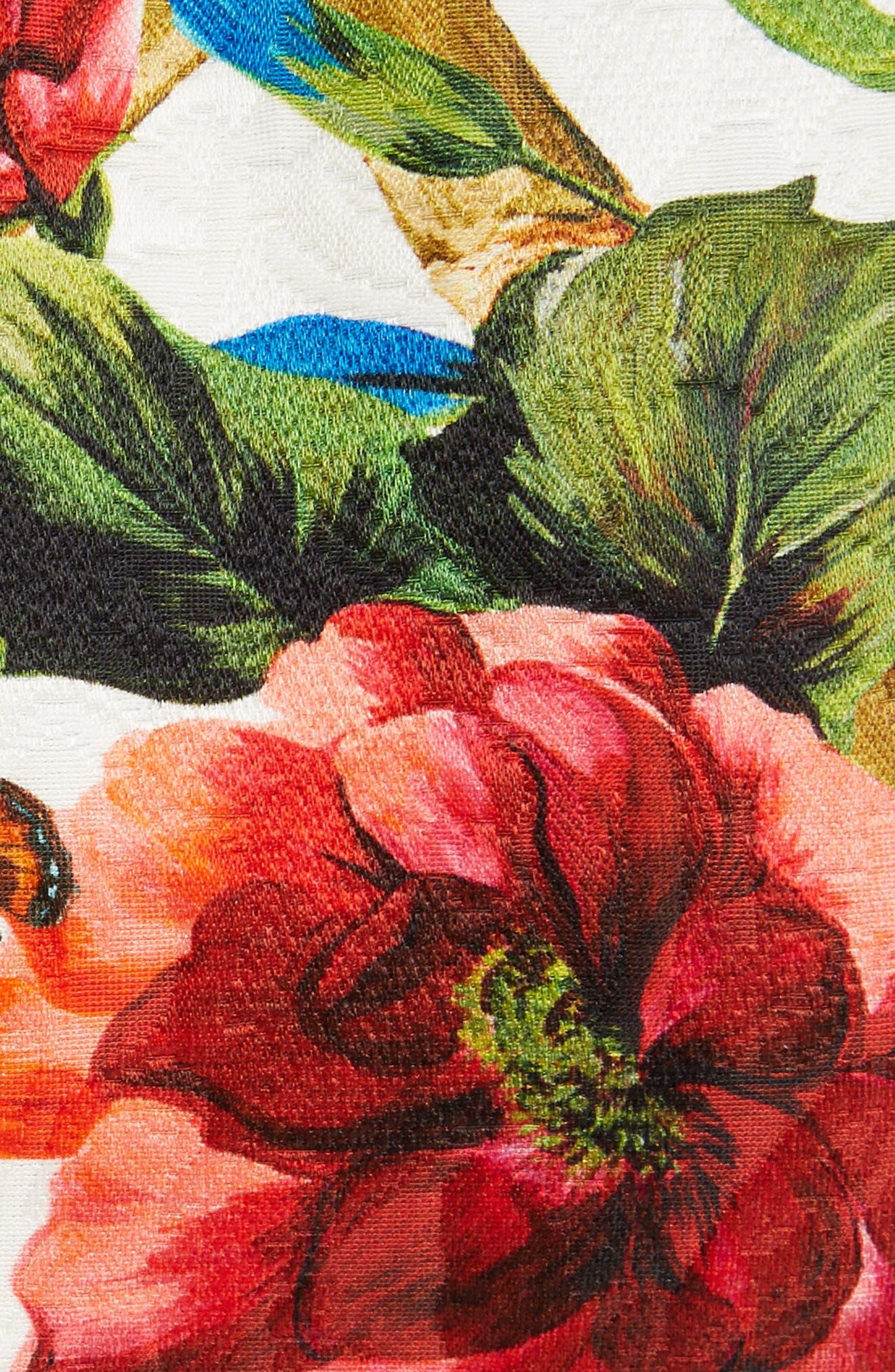 Slit Floral Brocade Dress,                             Alternate thumbnail 5, color,                             115