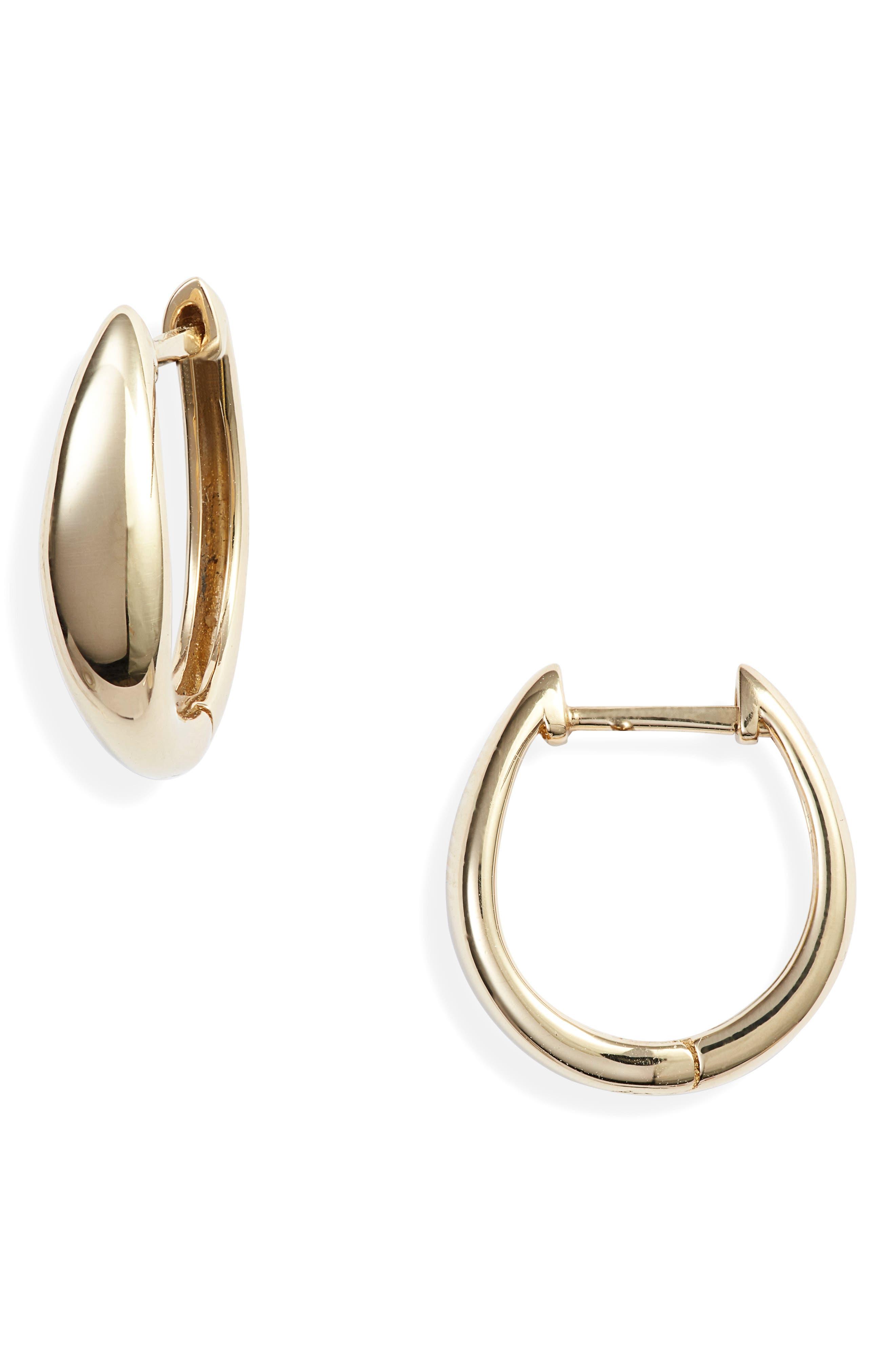 BONY LEVY,                             14K Gold Hoop Earrings,                             Main thumbnail 1, color,                             YELLOW GOLD/ DIA