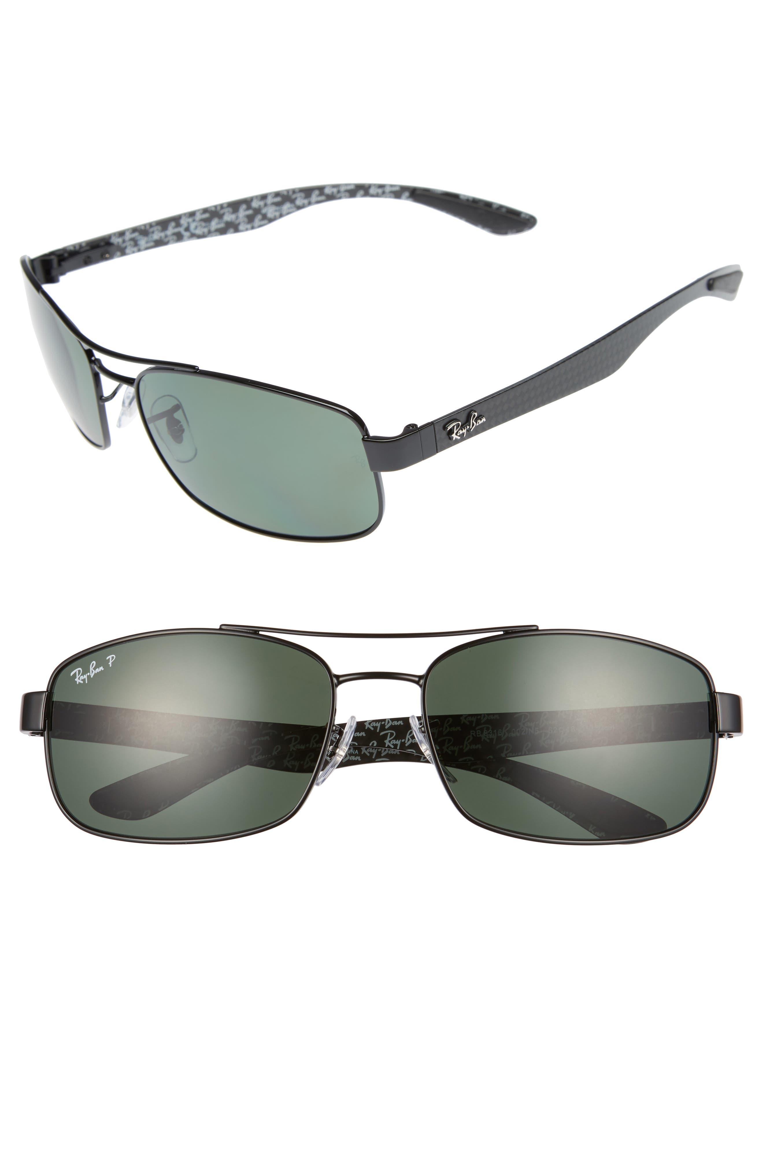62mm Polarized Sunglasses,                         Main,                         color, BLACK/ GREEN P