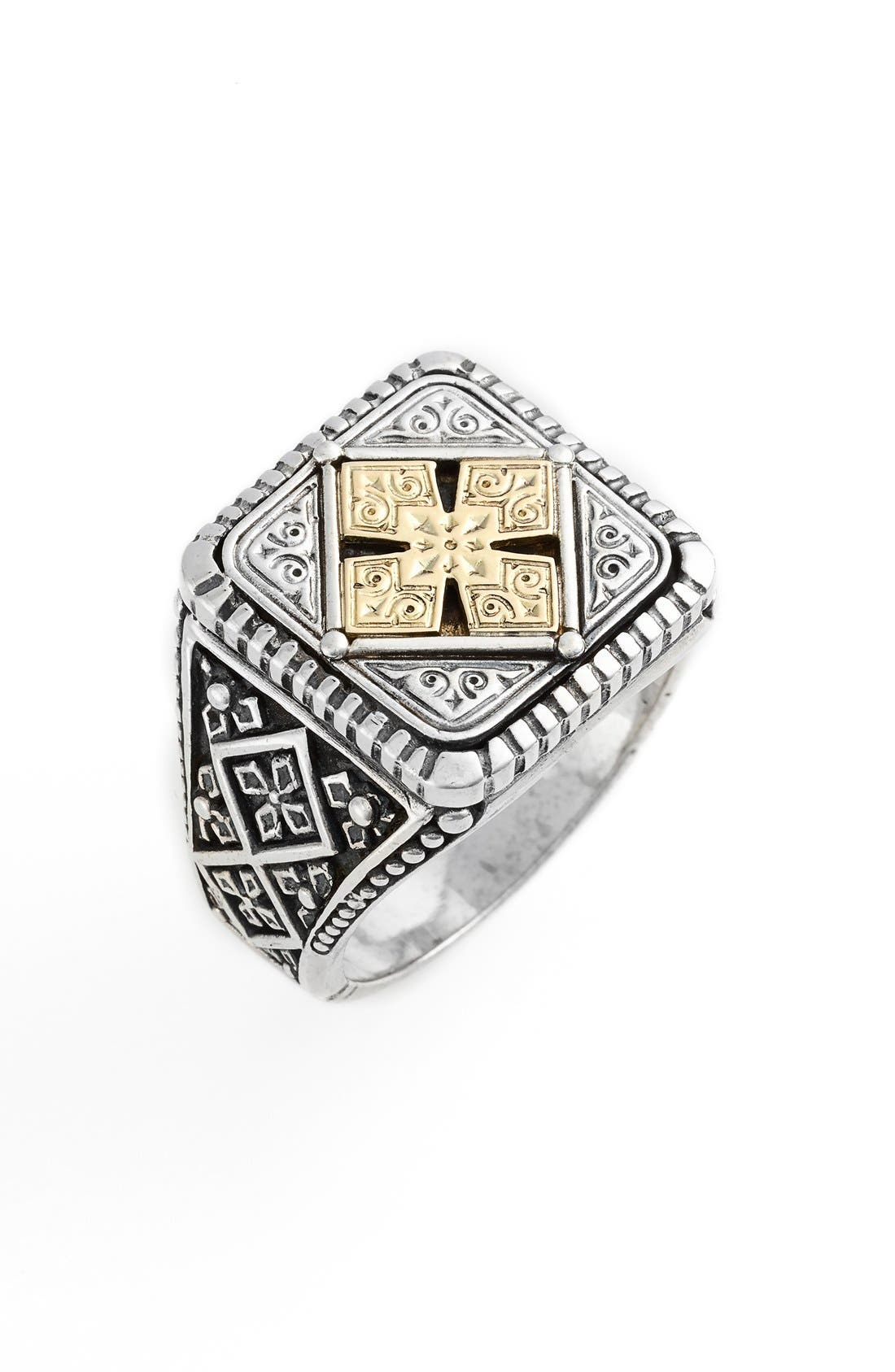 Silver & Gold Classics Square Ring,                         Main,                         color, SILVER