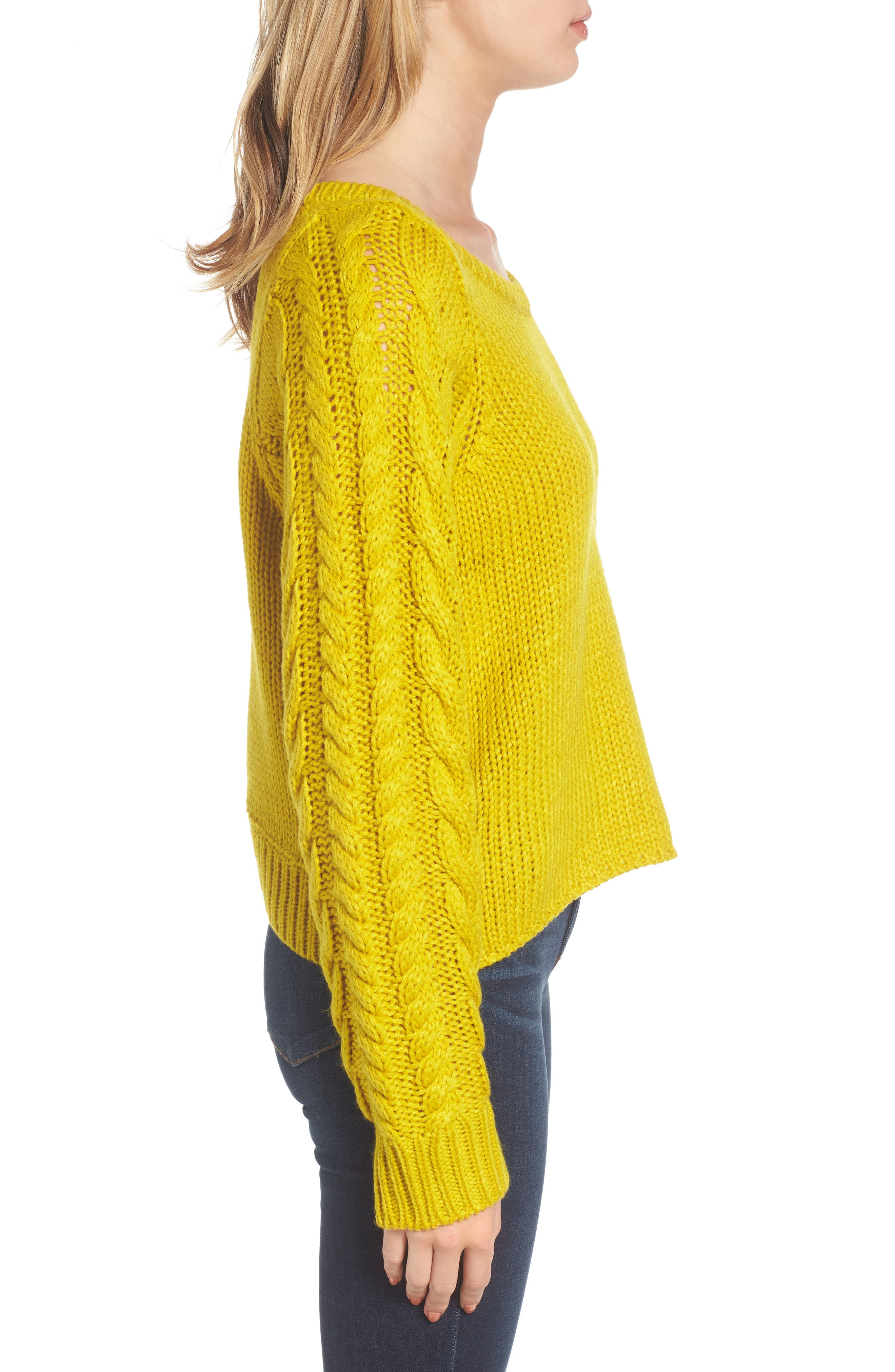 Cable Sleeve Pullover,                             Alternate thumbnail 6, color,