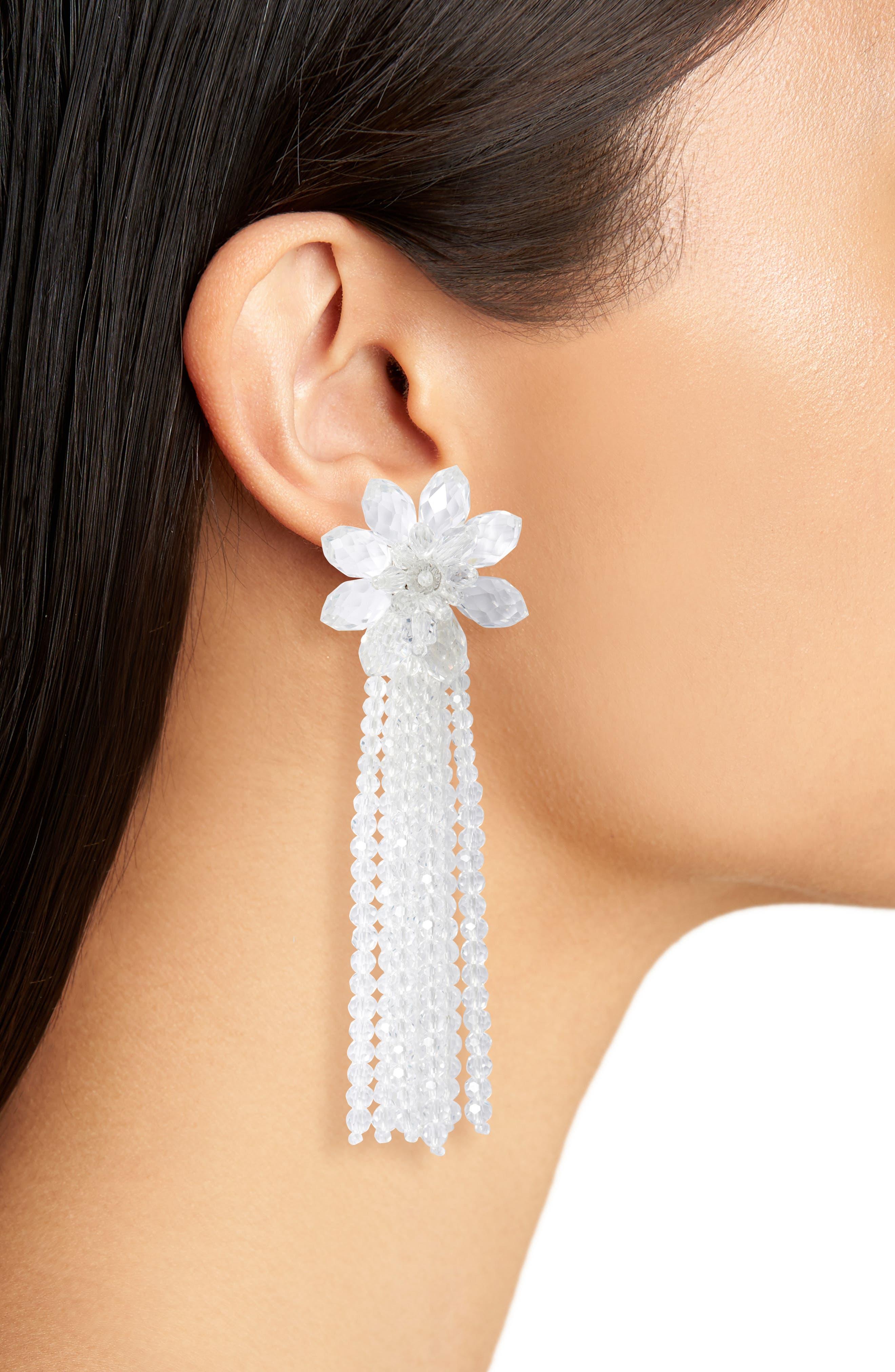 KATE SPADE NEW YORK,                             statement crystal tassel drop earrings,                             Alternate thumbnail 2, color,                             CLEAR