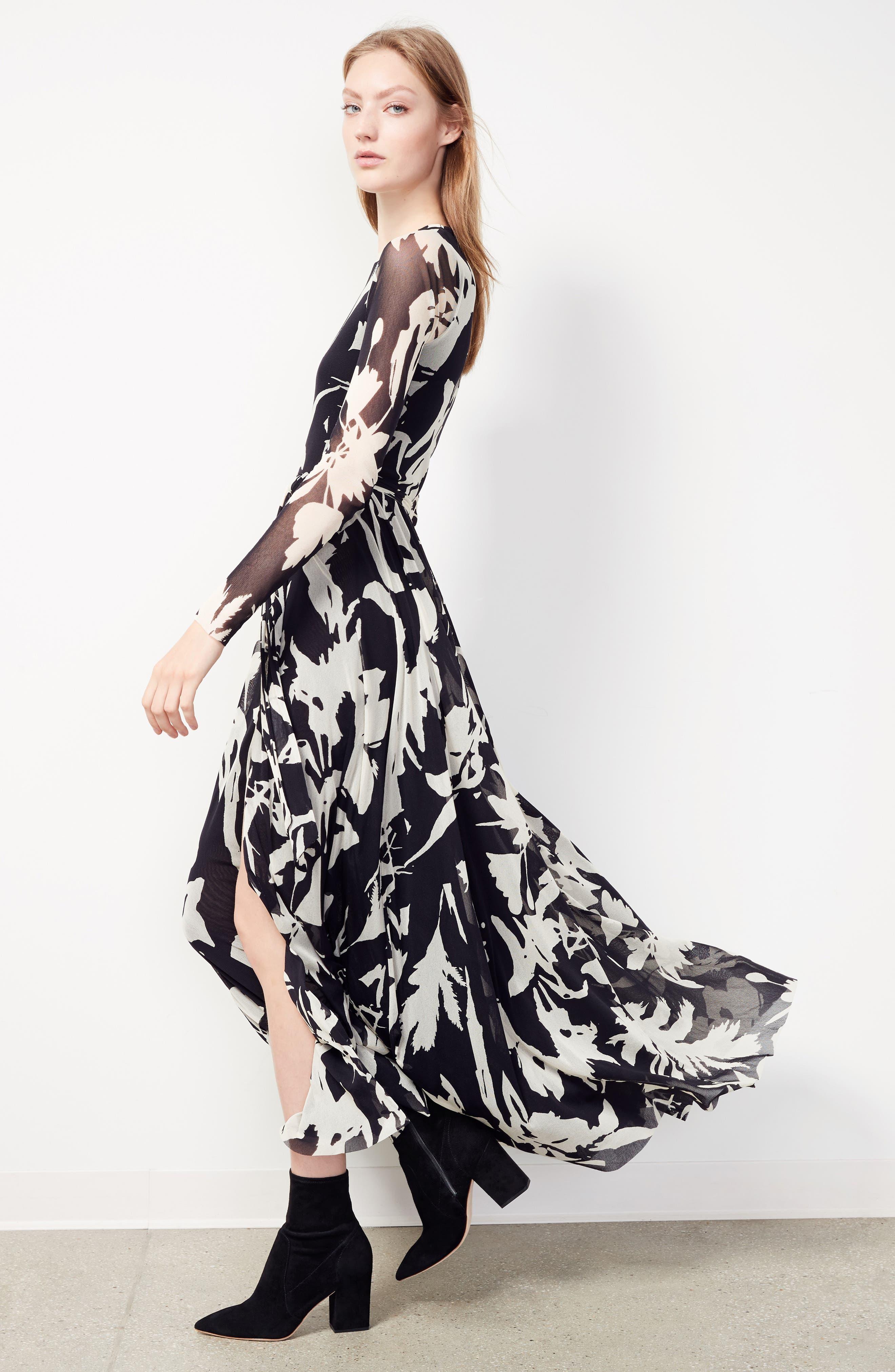 Bicolor Floral Print Tulle Maxi Dress,                             Alternate thumbnail 7, color,                             001