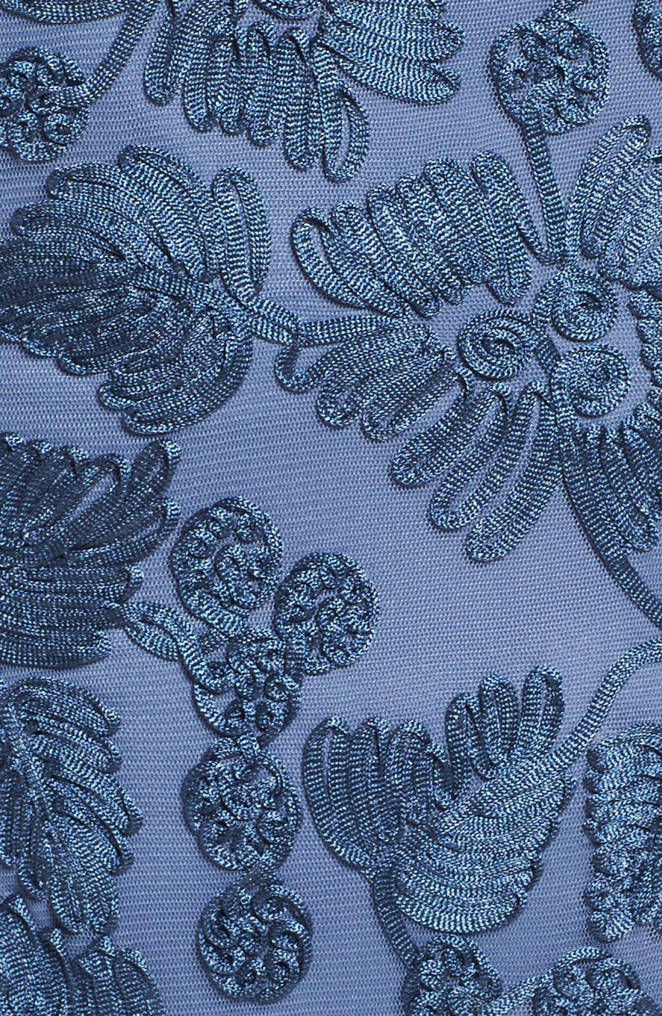 Soutache Stretch Tulle A-Line Gown,                             Alternate thumbnail 5, color,                             496