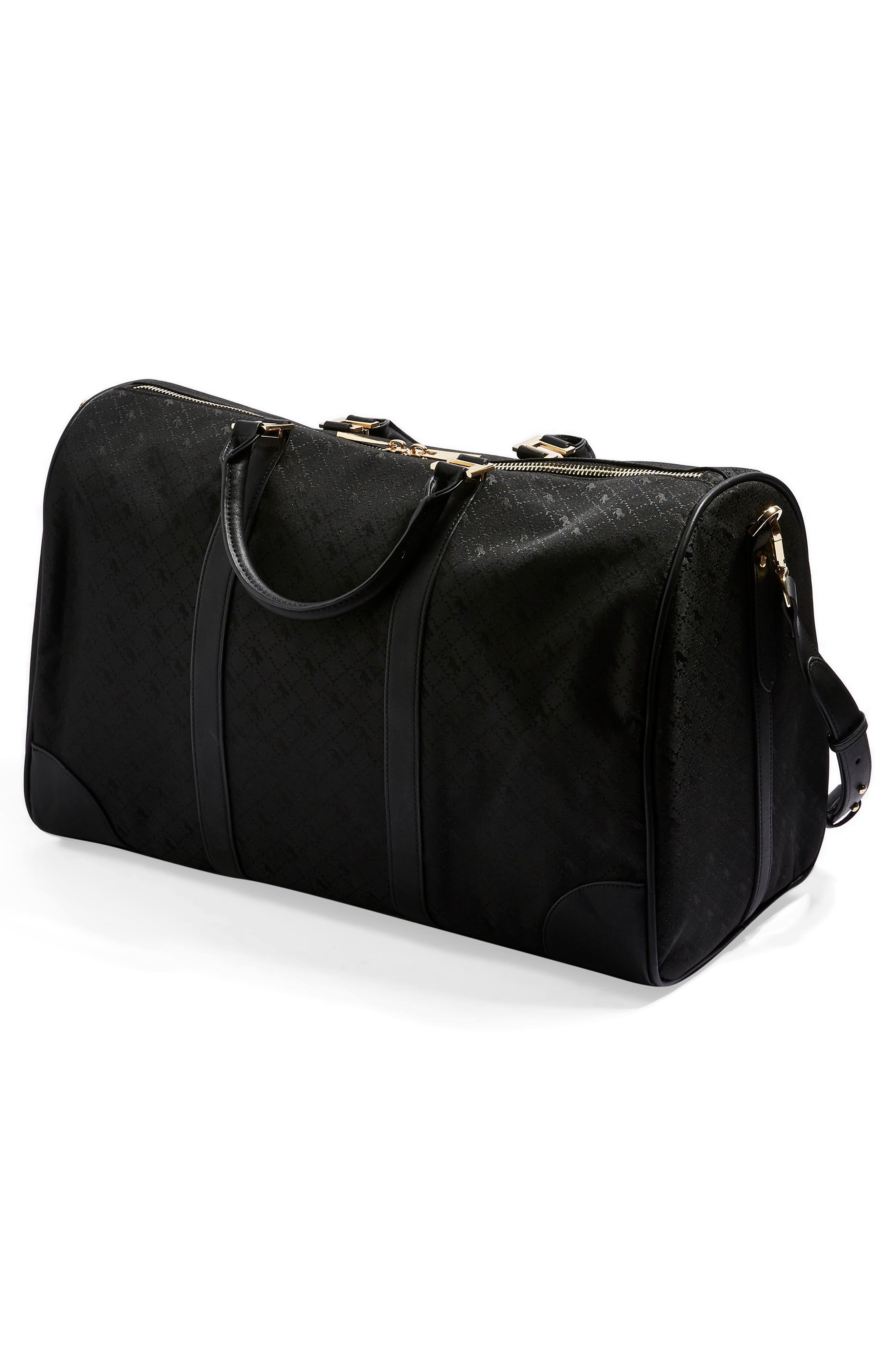 TOPSHOP,                             Large Madrid Duffel Bag,                             Alternate thumbnail 4, color,                             BLACK