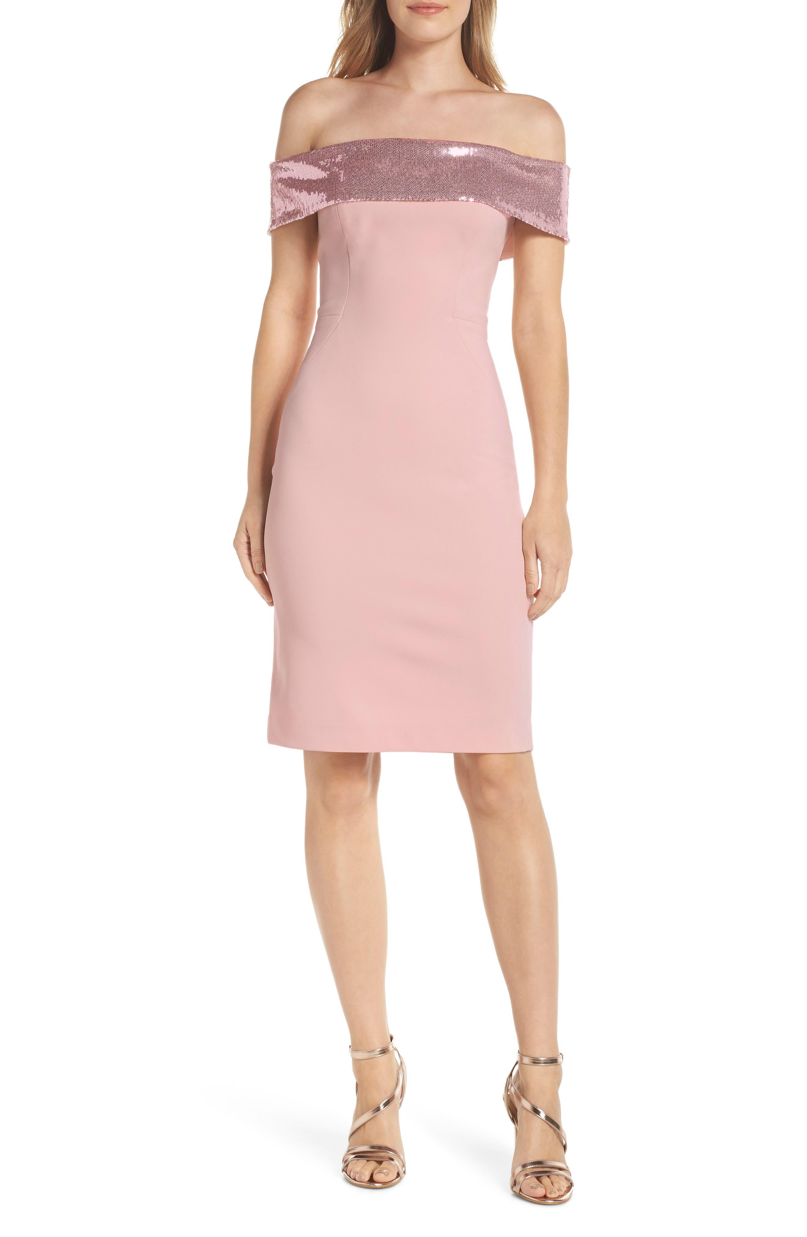Eliza J Off The Shoulder Sequin Foldover Dress, Pink