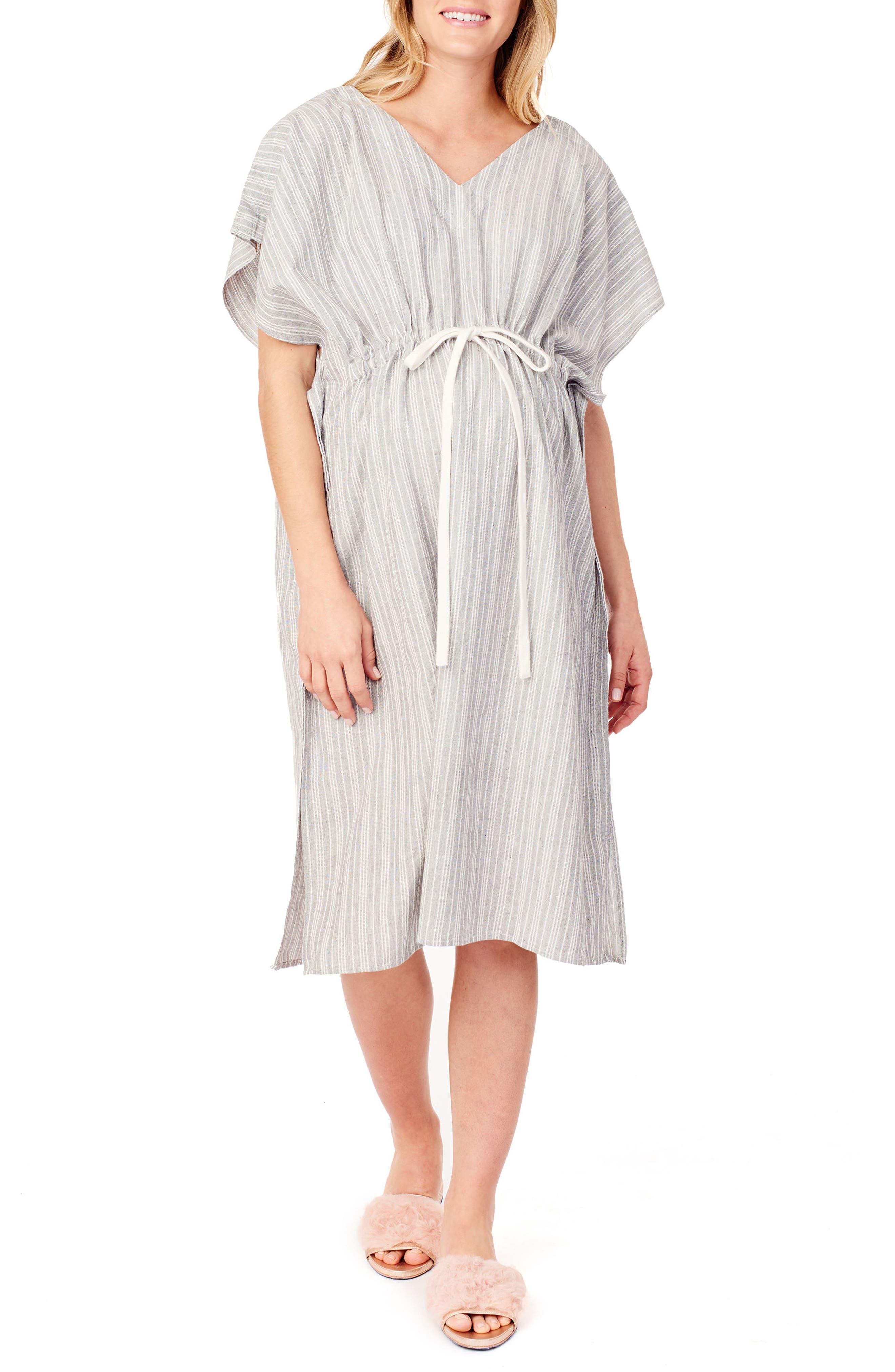 x James Fox & Co. Maternity/Nursing Hospital Gown,                         Main,                         color, BLACK/ WHITE DOBBY STRIPE