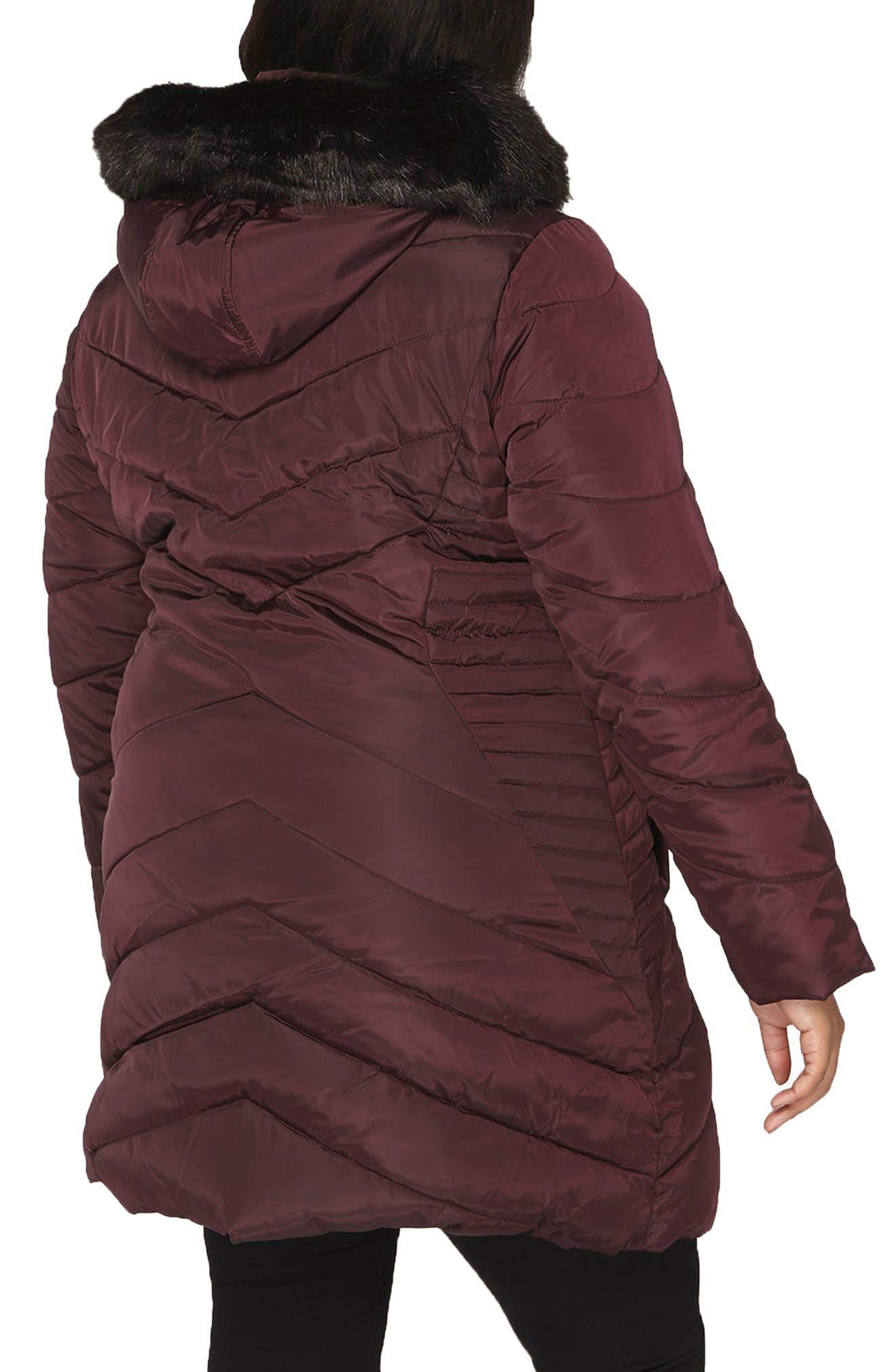 Faux Fur Trim Hooded Puffer Coat,                             Alternate thumbnail 4, color,