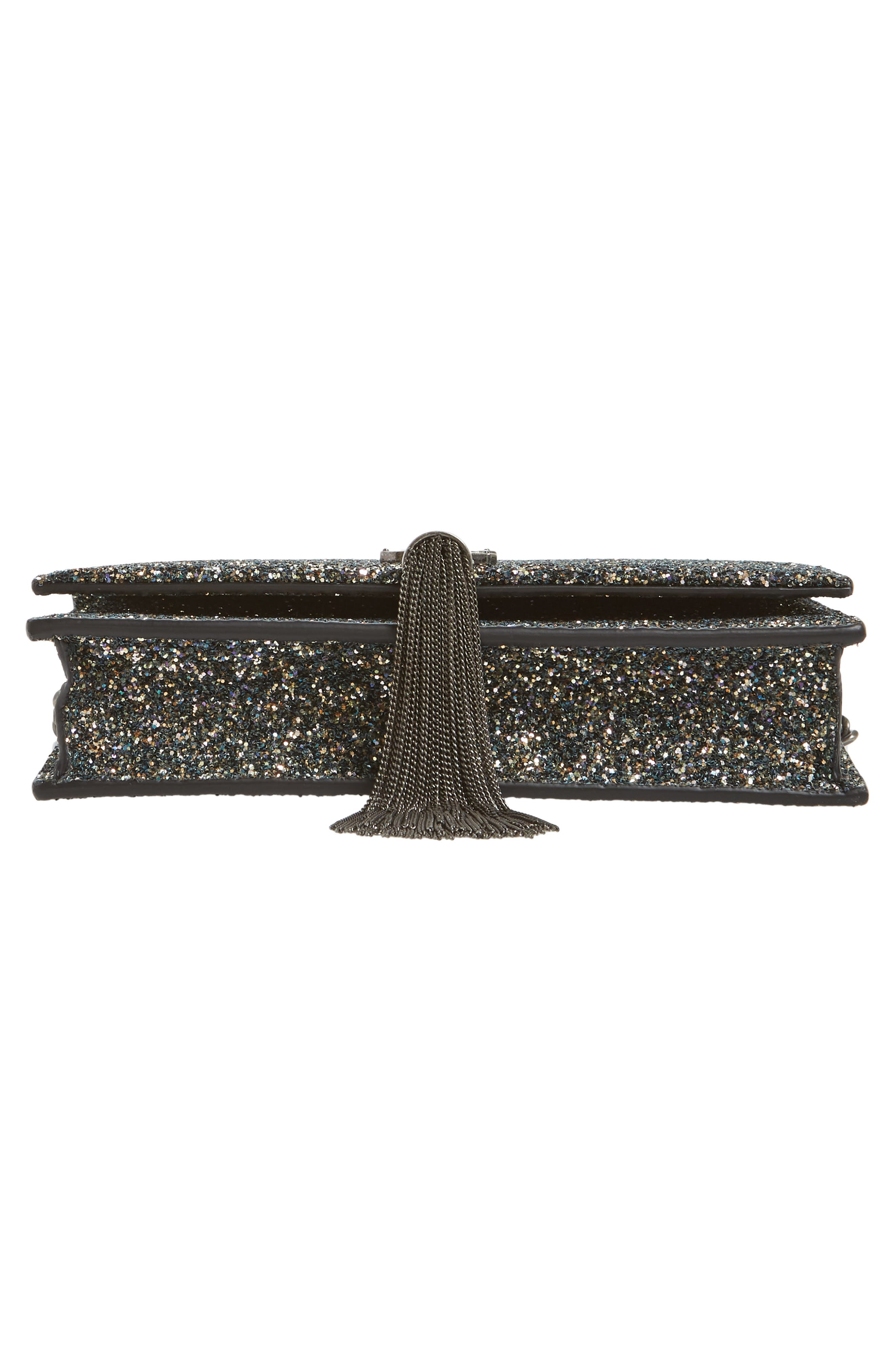 Kate Glitter Wallet on a Chain,                             Alternate thumbnail 7, color,                             OLIVE/ NERO