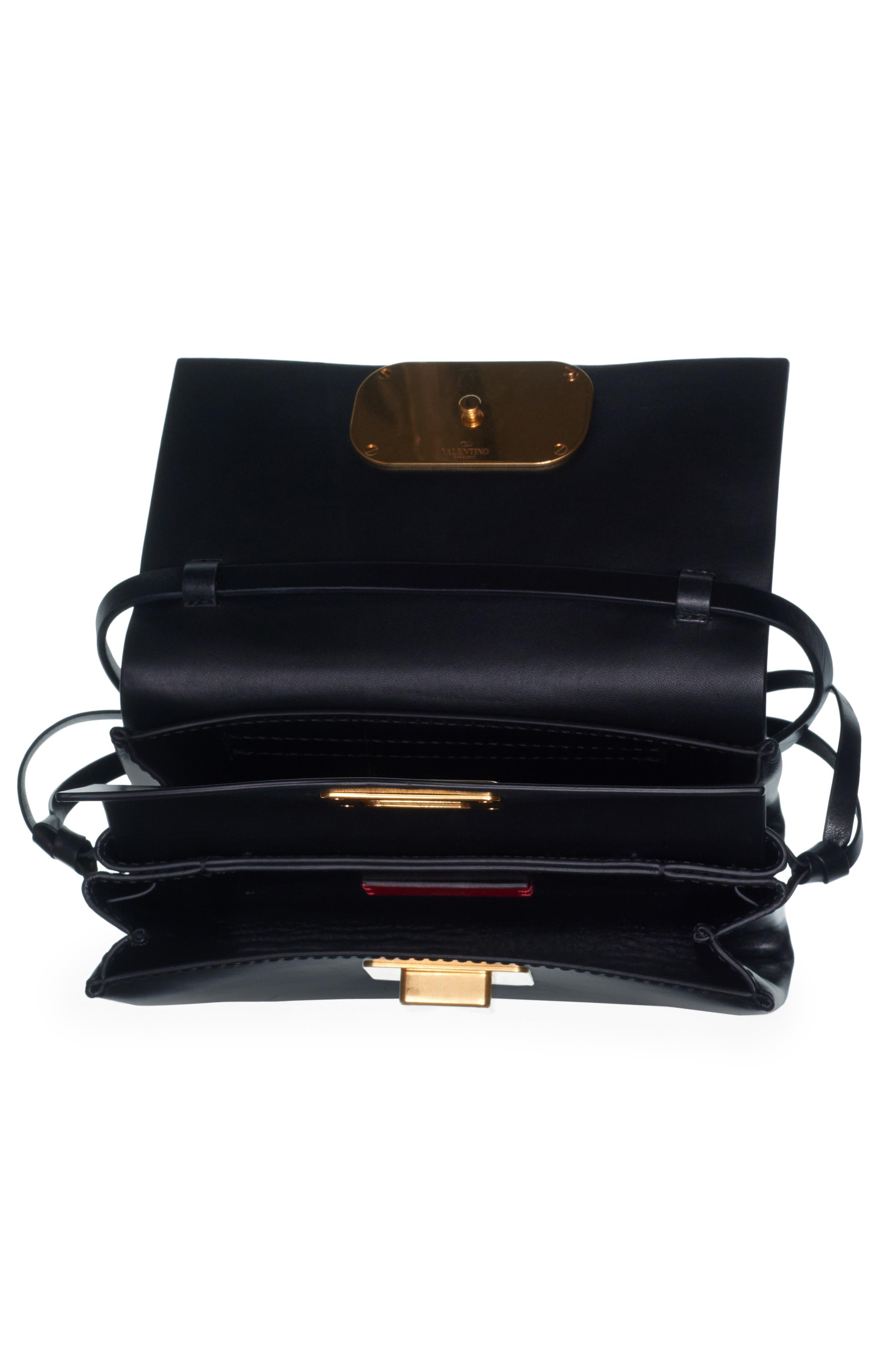 VALENTINO GARAVANI,                             V-Ring Leather Crossbody Bag,                             Alternate thumbnail 3, color,                             NERO-NERO/ NERO