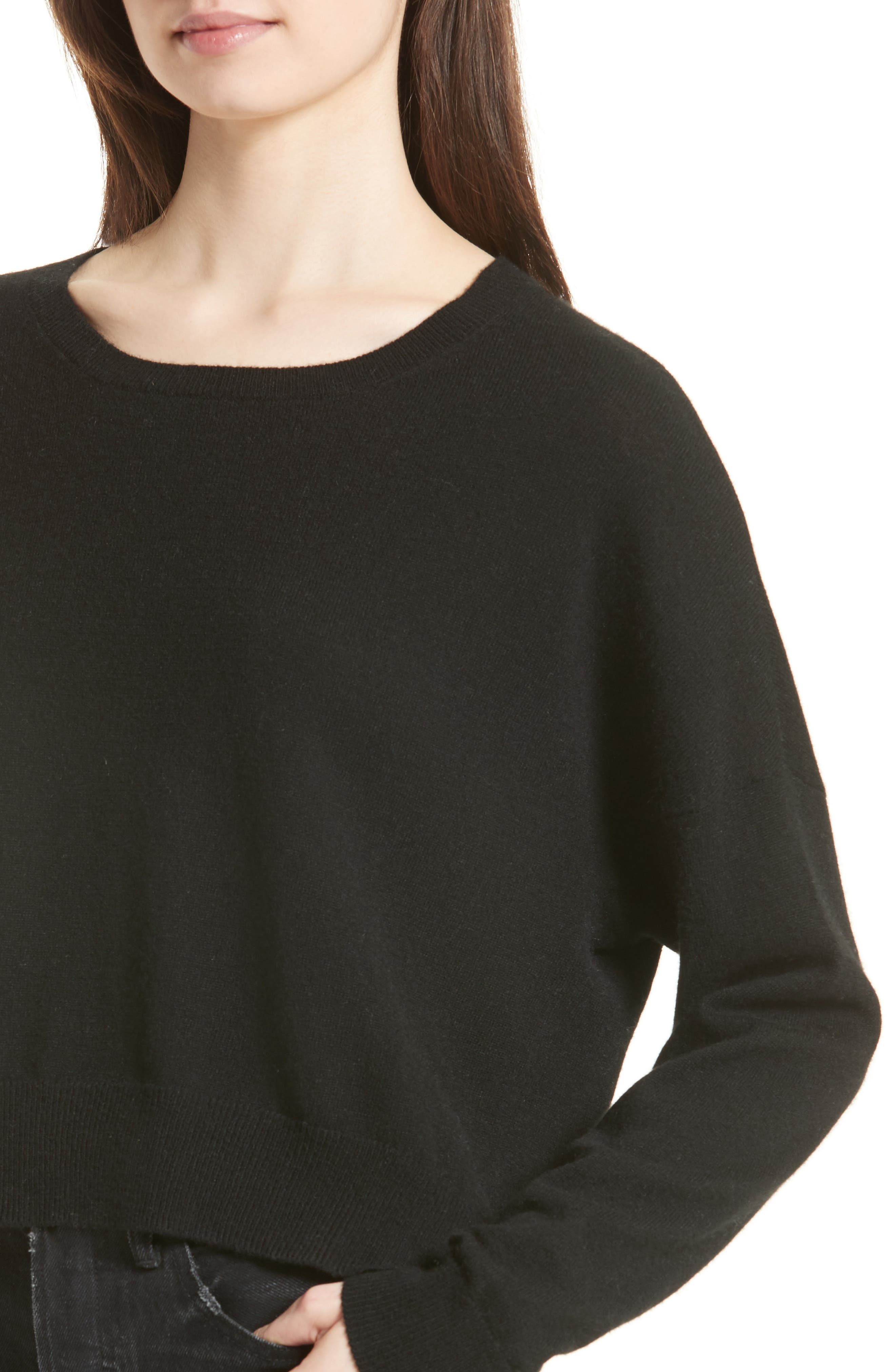 Crop Cashmere Sweater,                             Alternate thumbnail 4, color,                             001