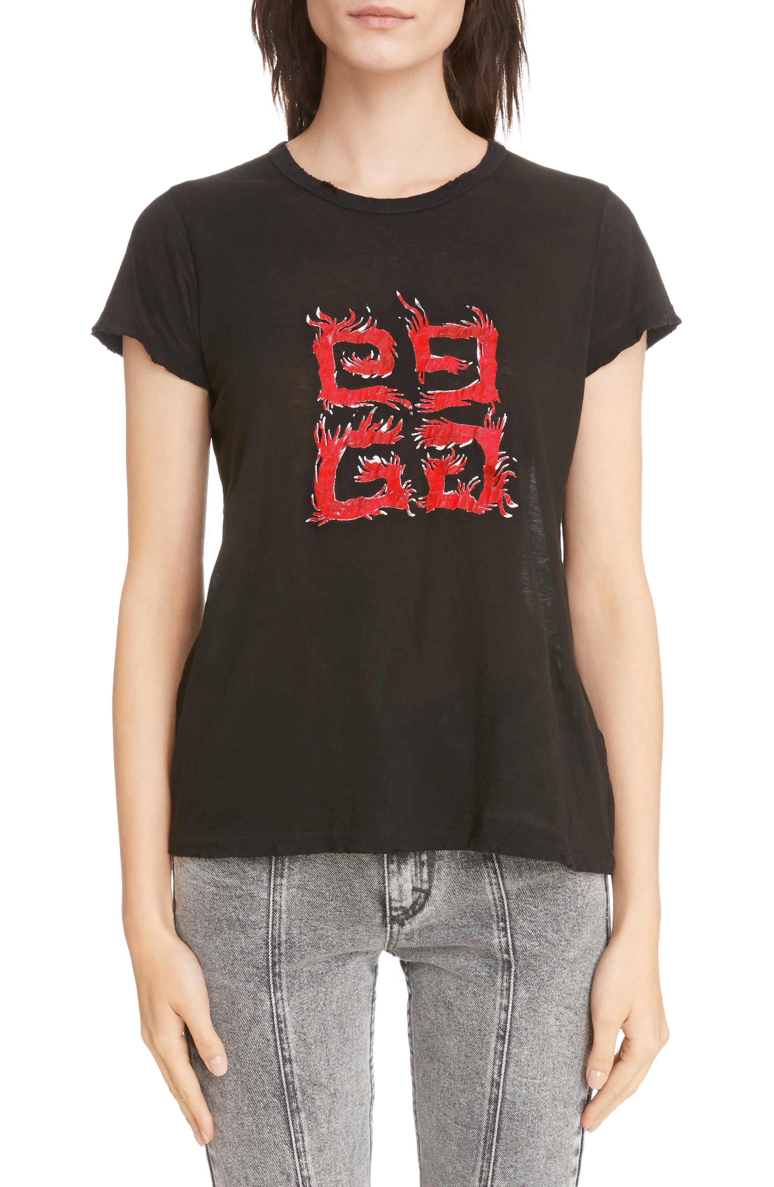 Fire Logo Distressed Tee,                             Main thumbnail 1, color,                             001