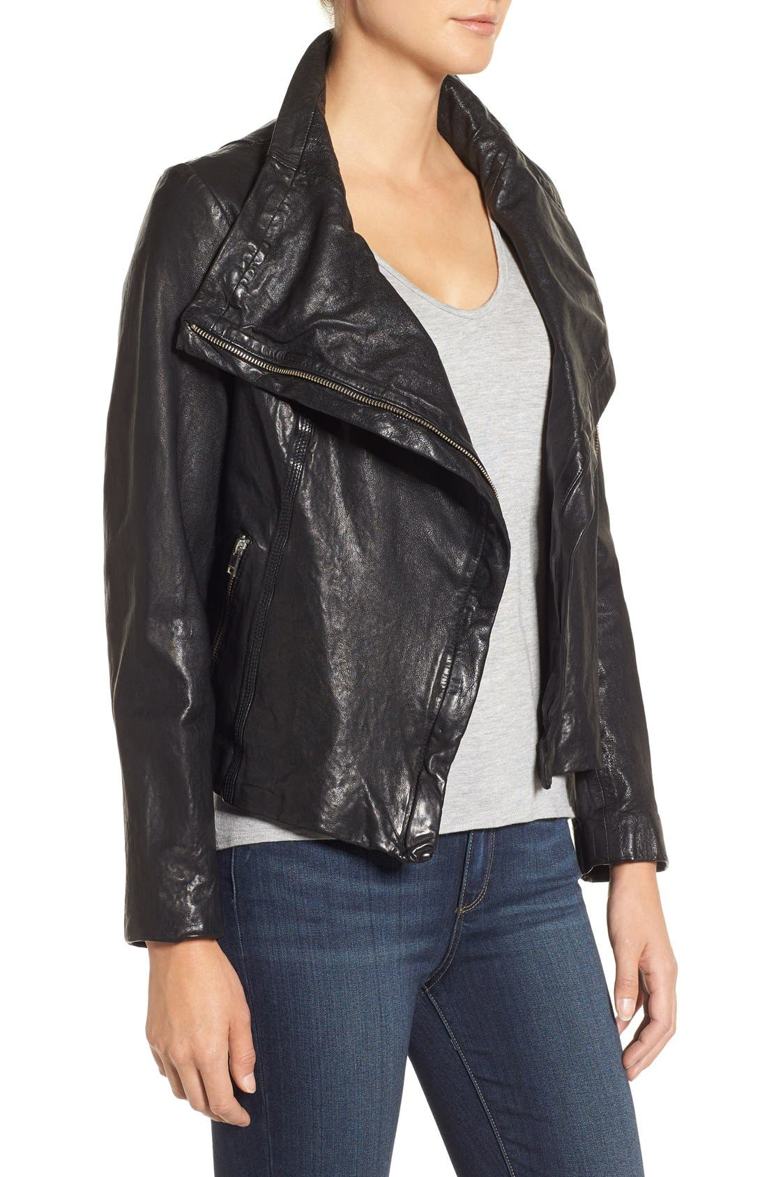 Funnel Neck Moto Jacket,                             Alternate thumbnail 9, color,                             BLACK