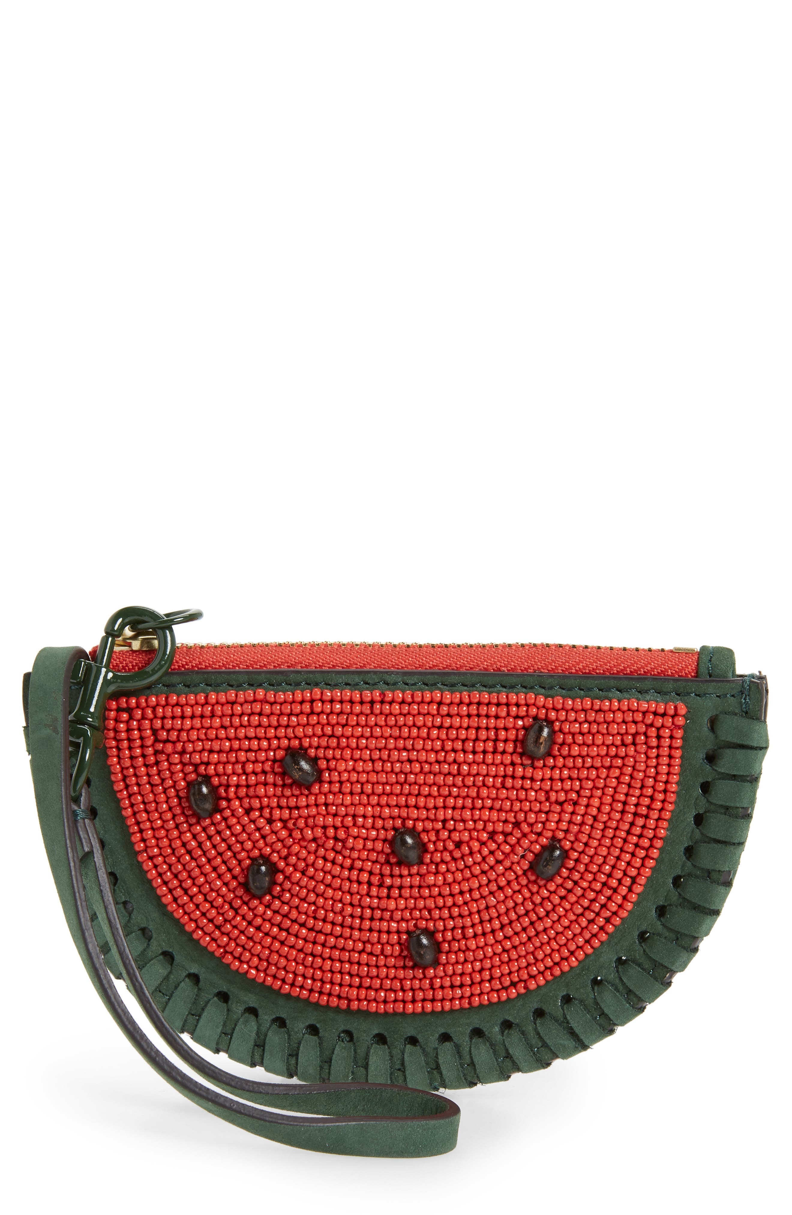 Watermelon Leather Coin Pouch,                         Main,                         color, BANYAN GREEN / POPPY ORANGE