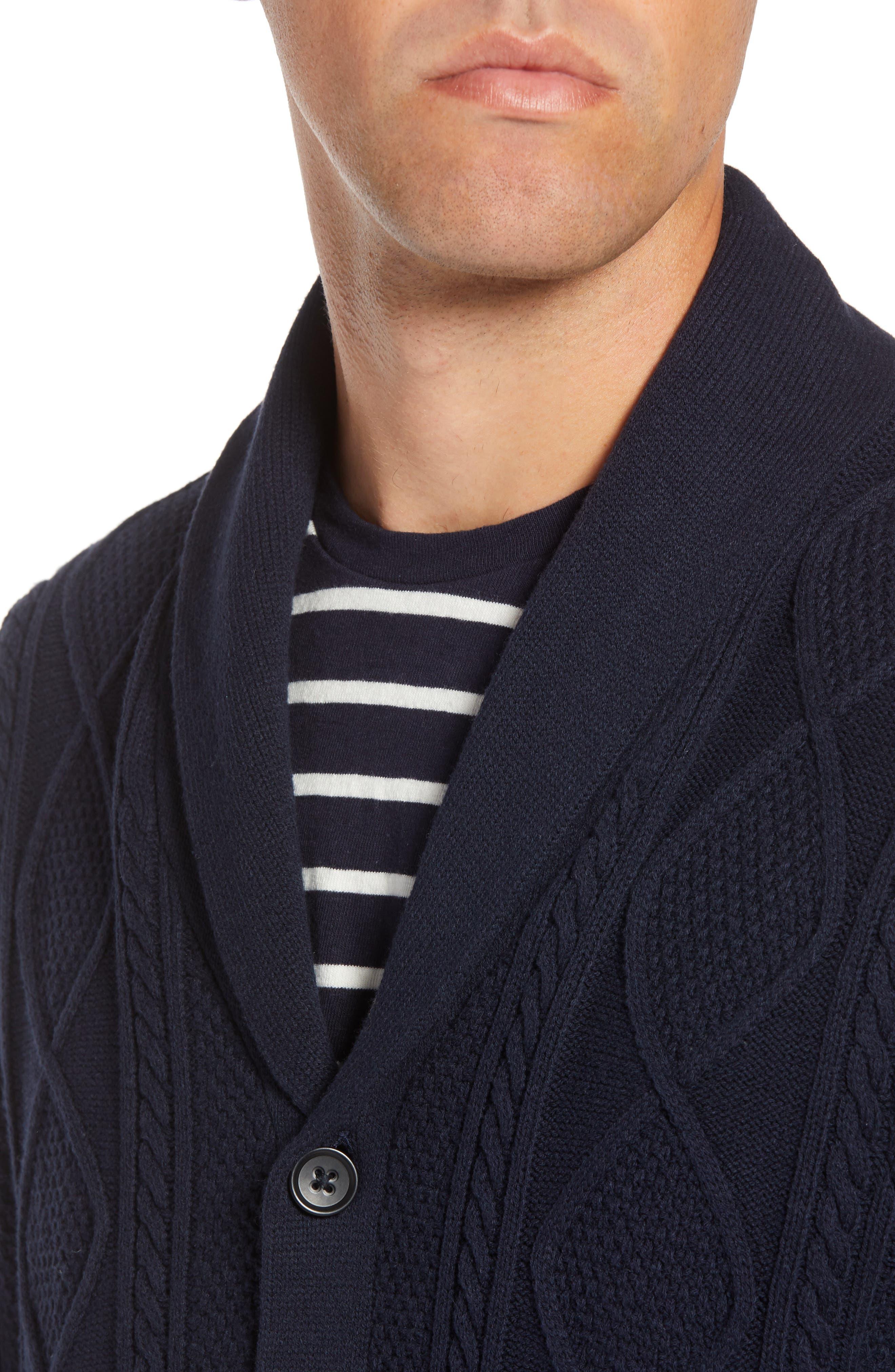 Cable Knit Shawl Collar Cardigan,                             Alternate thumbnail 4, color,                             NAVY NIGHT