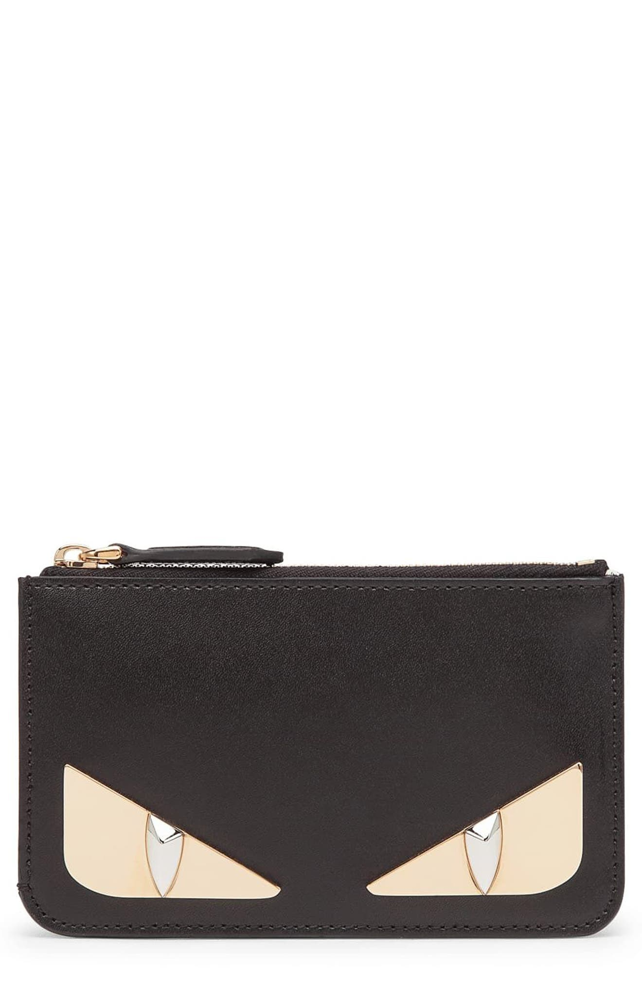 Monster Leather Key Pouch,                         Main,                         color, NERO/ ORO SOFT