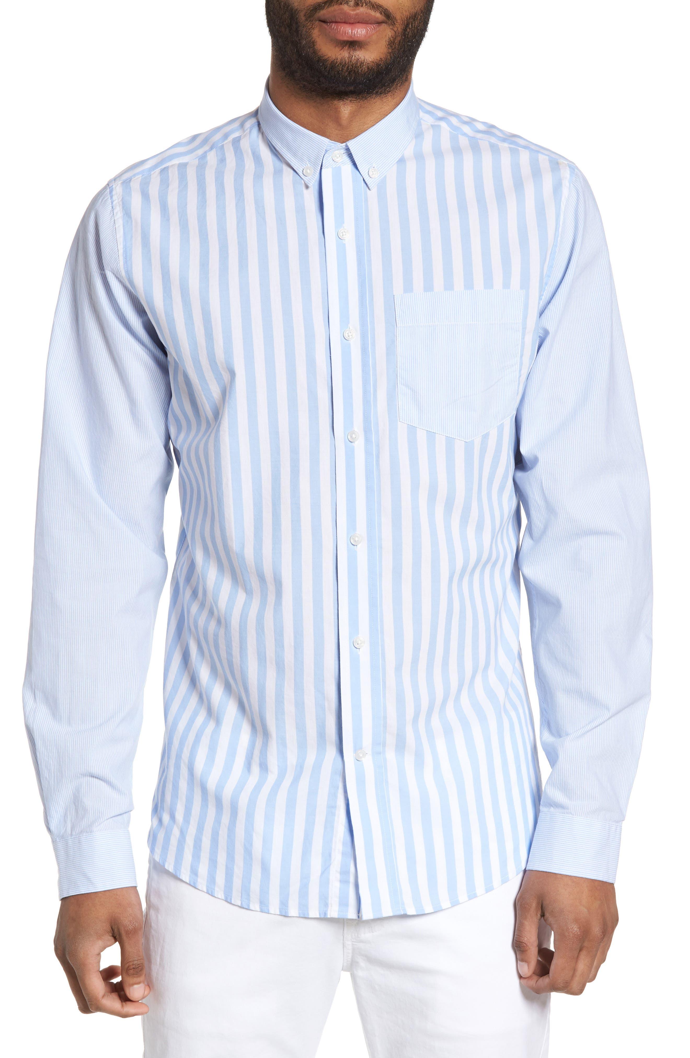 Slim Fit Stripe Sport Shirt,                         Main,                         color, 451