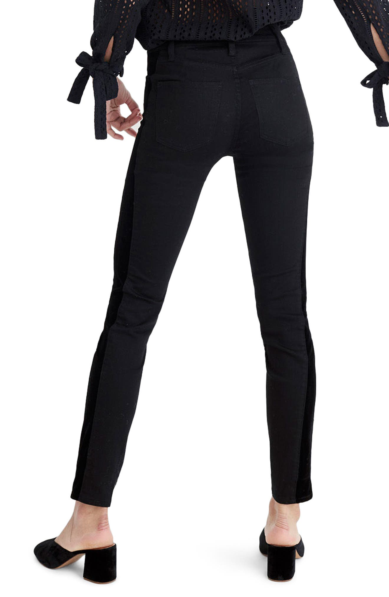 9-Inch High Waist Tuxedo Stripe Skinny Jeans,                             Alternate thumbnail 2, color,                             009