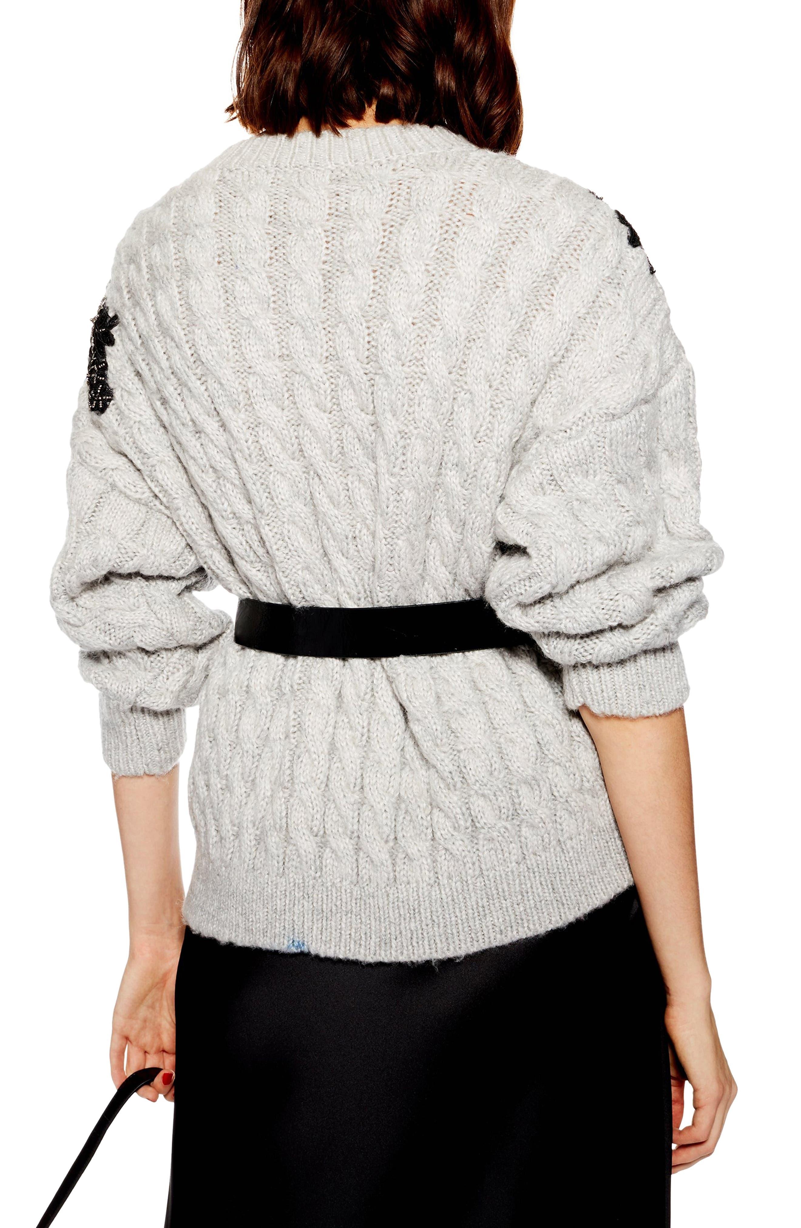TOPSHOP,                             Appliqué Cable Knit Sweater,                             Alternate thumbnail 2, color,                             020