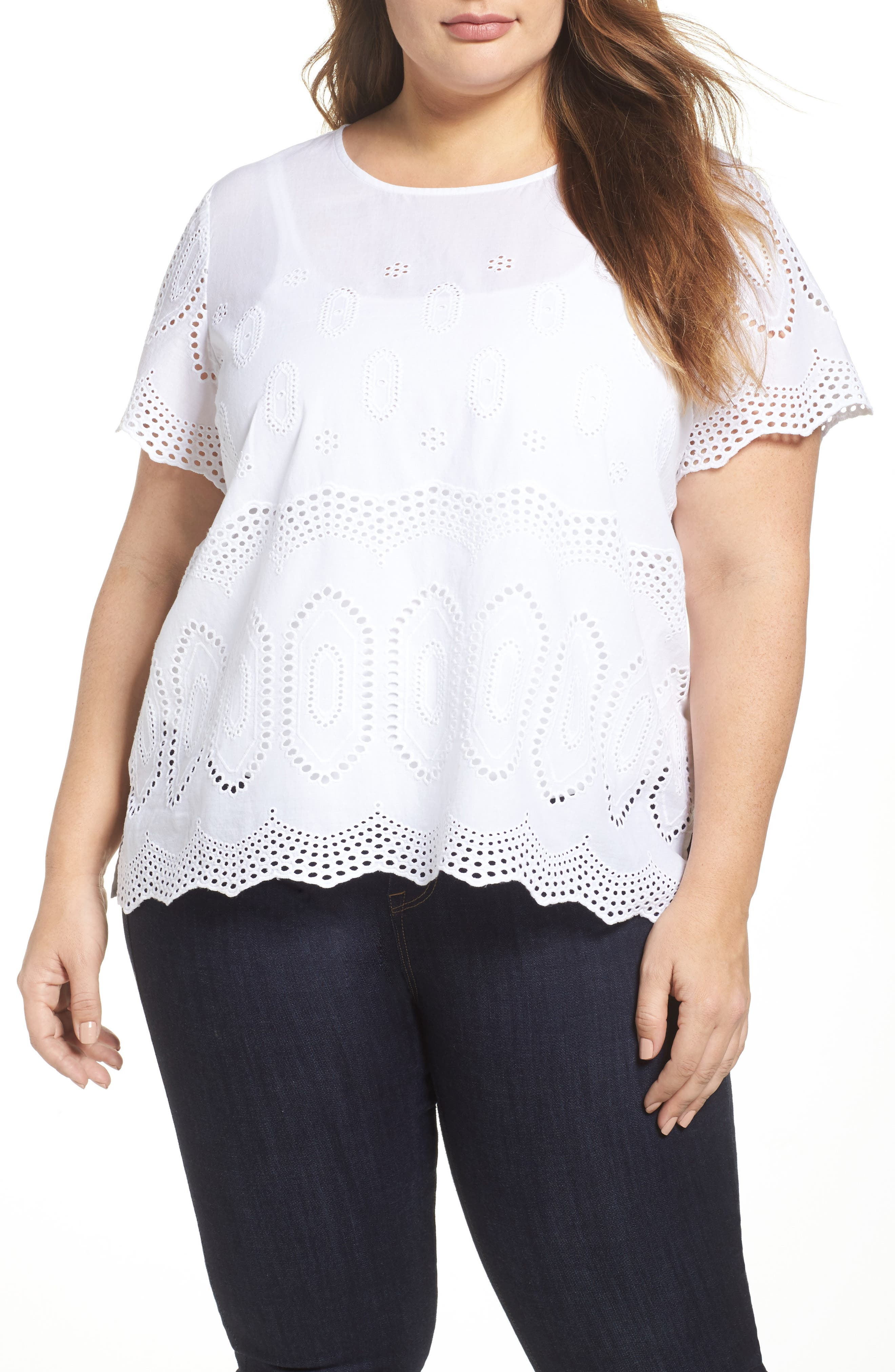 Scallop Eyelet Blouse,                         Main,                         color, ULTRA WHITE