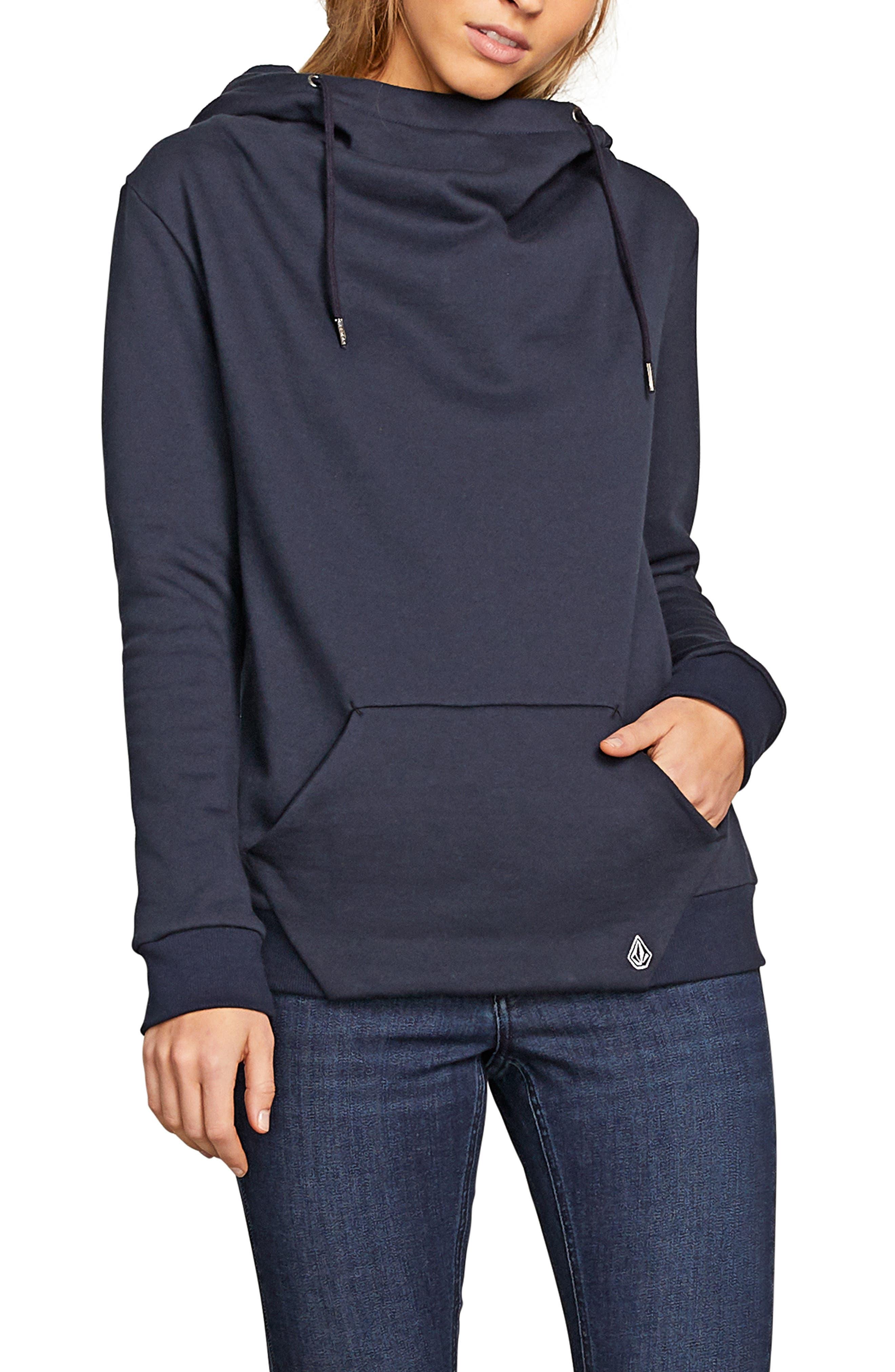 Walk On By Funnel Neck Hoodie,                             Main thumbnail 1, color,                             SEA NAVY
