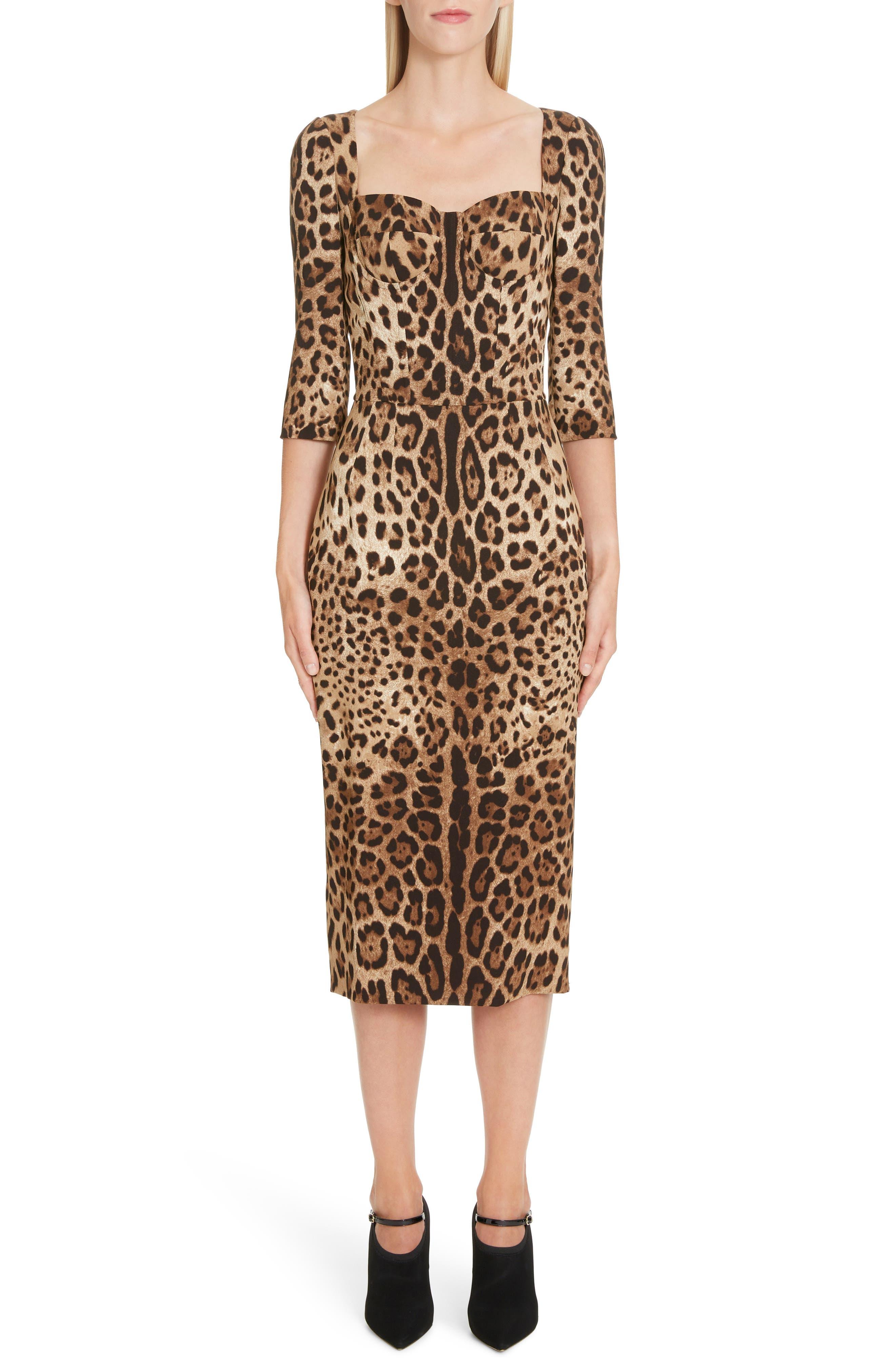 Dolce & gabbana Leopard Print Bustier Bodice Sheath Dress, US / 44 IT - Brown