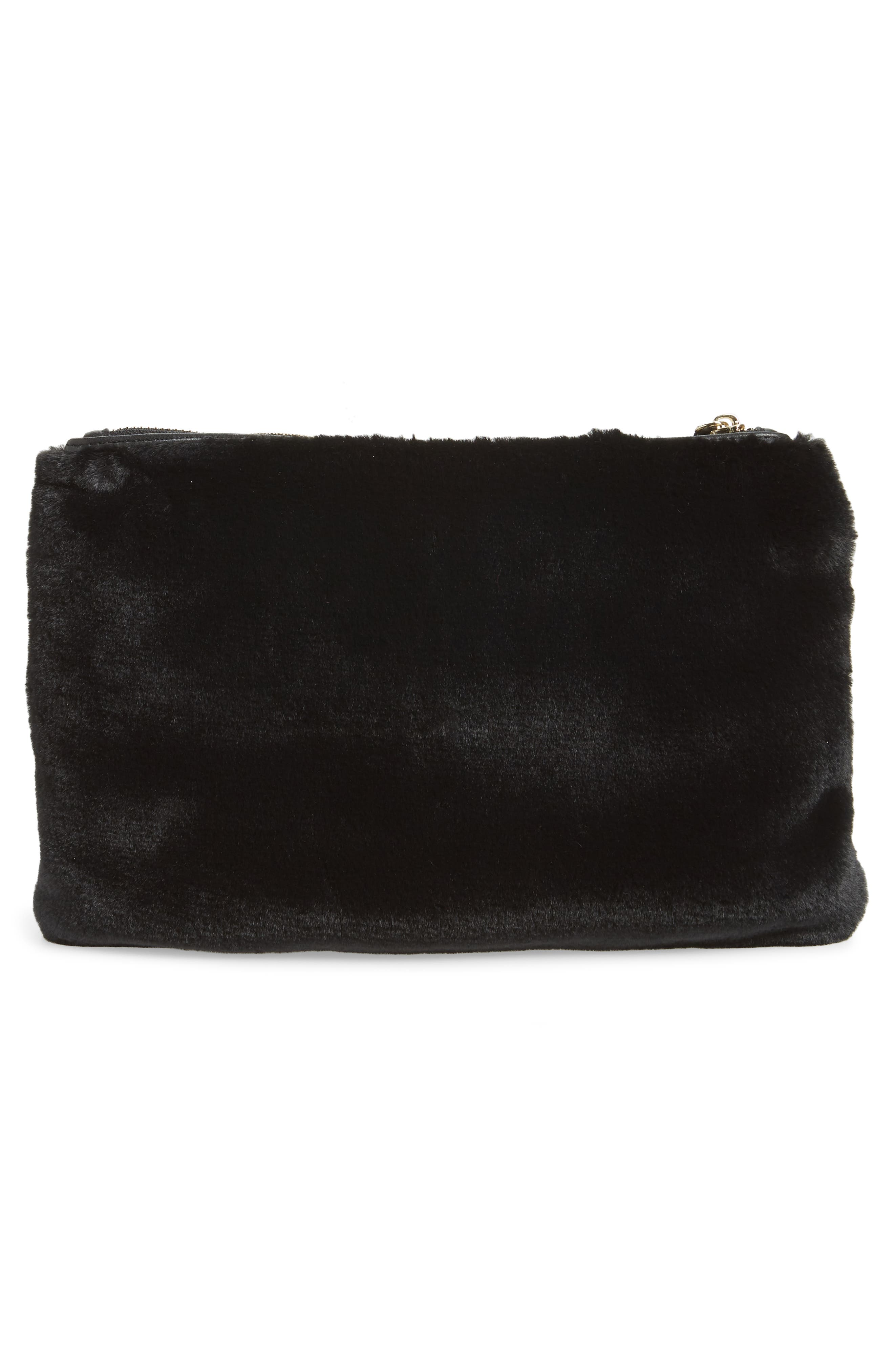 Jen Faux Fur Pouch,                             Alternate thumbnail 3, color,                             BLACK