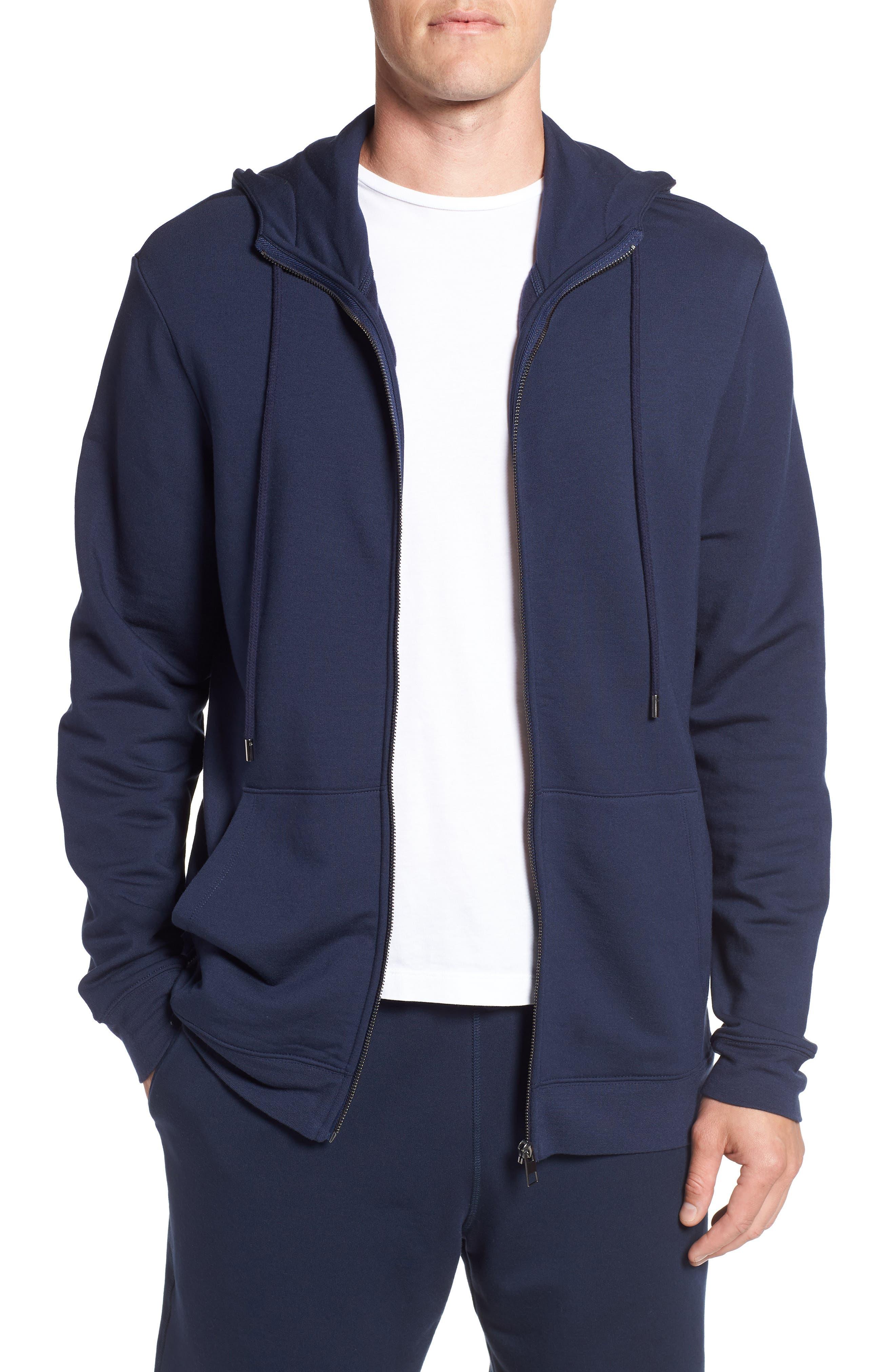 Modal Blend Zip Hoodie,                         Main,                         color, NAVY