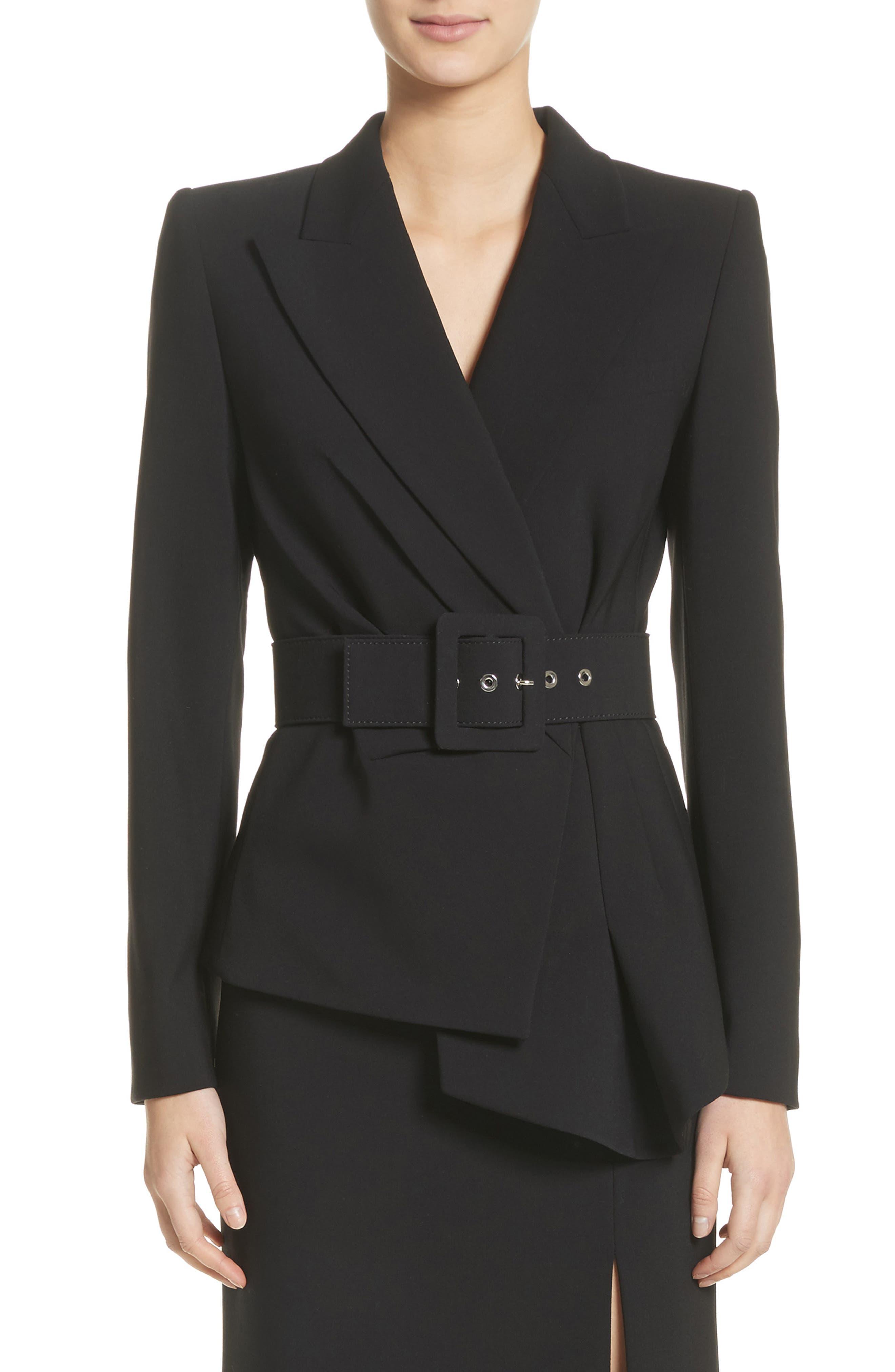 Belted Wool Blend Pebble Crepe Blazer,                             Main thumbnail 1, color,                             BLACK