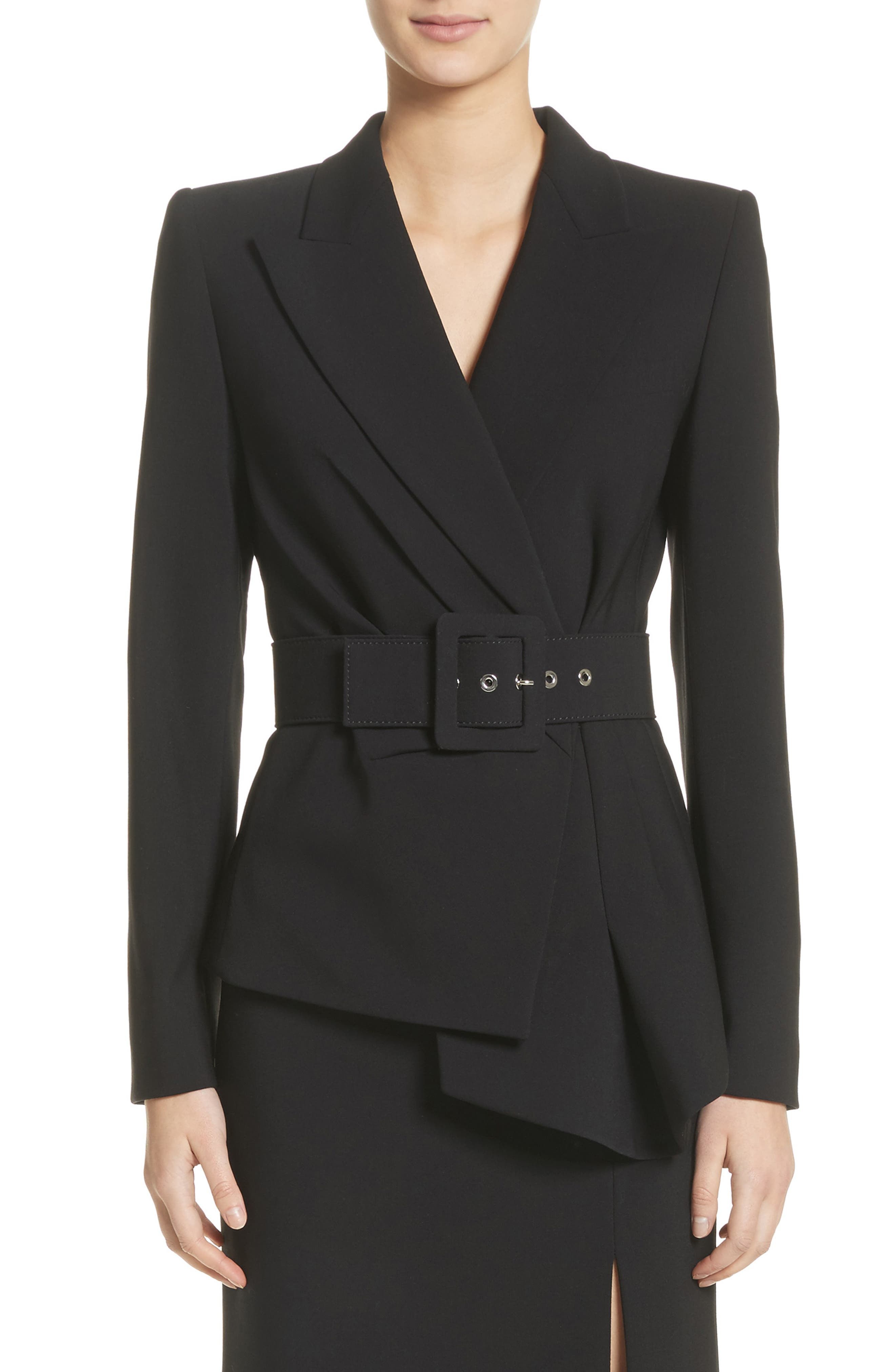 Belted Wool Blend Pebble Crepe Blazer,                         Main,                         color, BLACK