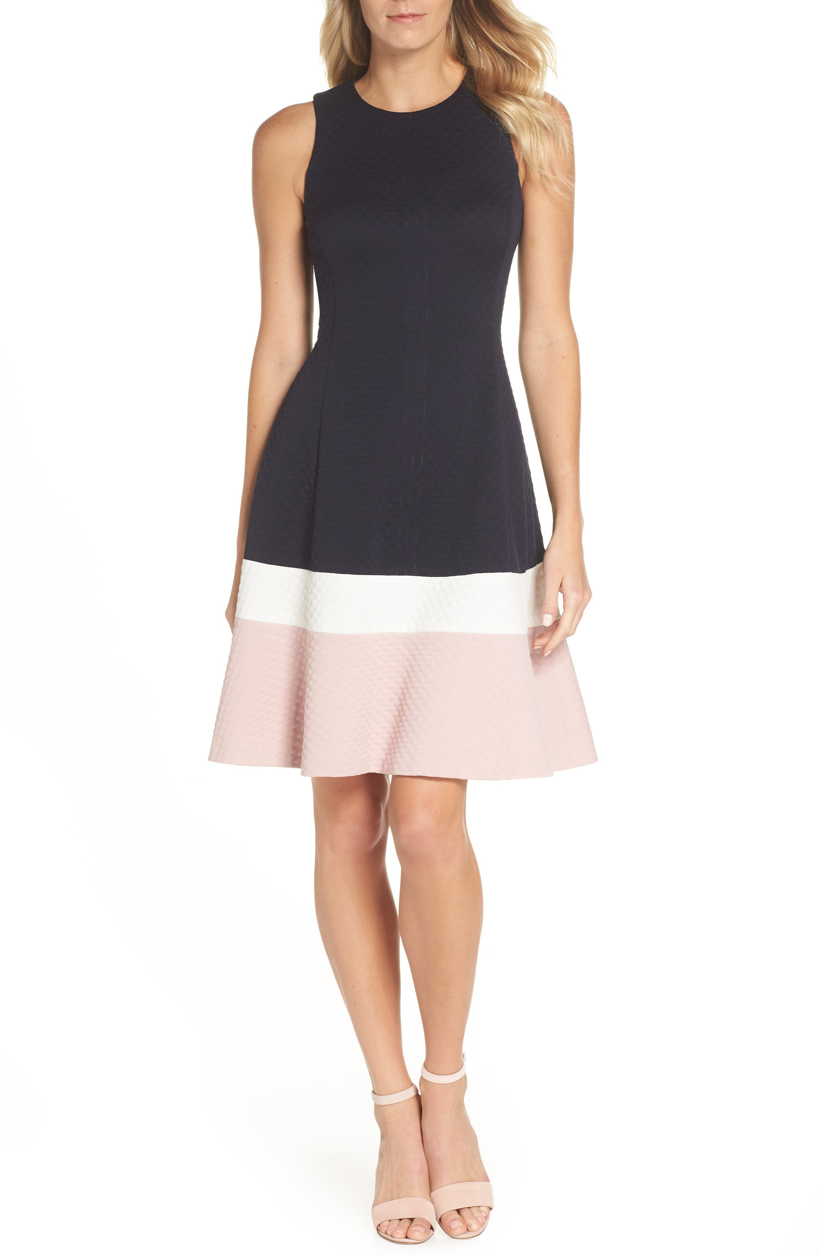 Colorblock Texture Knit Fit & Flare Dress, Main, color, NAVY/ IVORY/ BLUSH