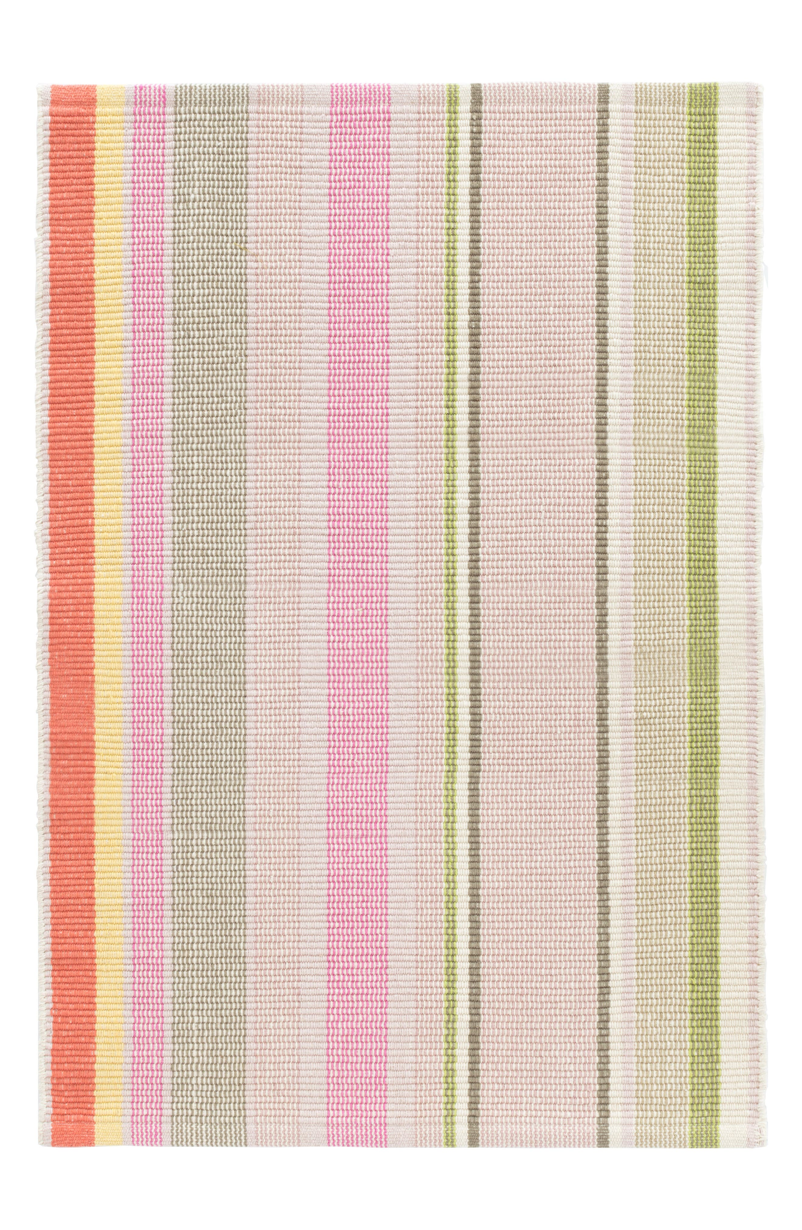 Paris Stripe Woven Cotton Rug,                             Main thumbnail 1, color,                             PINK