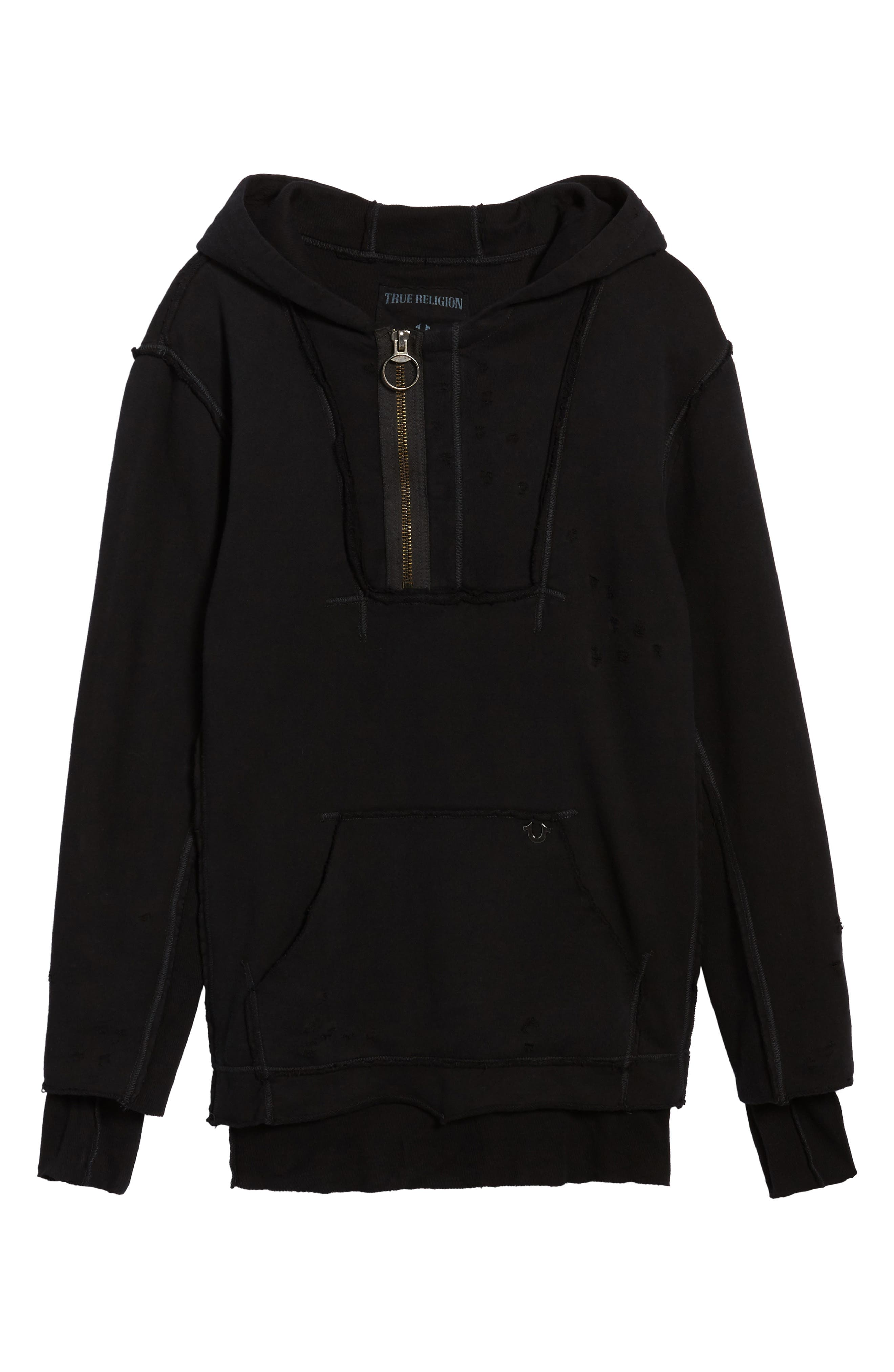 Distressed Pullover Hoodie,                             Alternate thumbnail 6, color,                             001