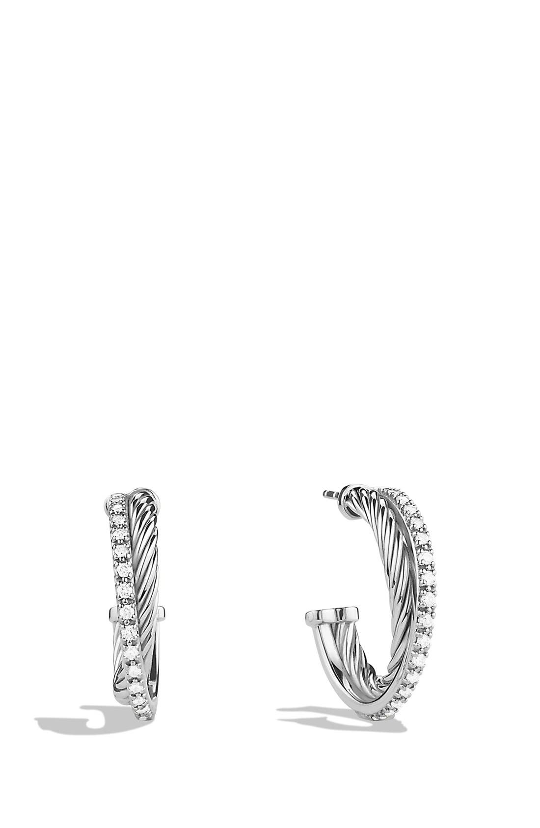 'Crossover' Small Diamond Hoop Earrings,                             Main thumbnail 1, color,                             DIAMOND