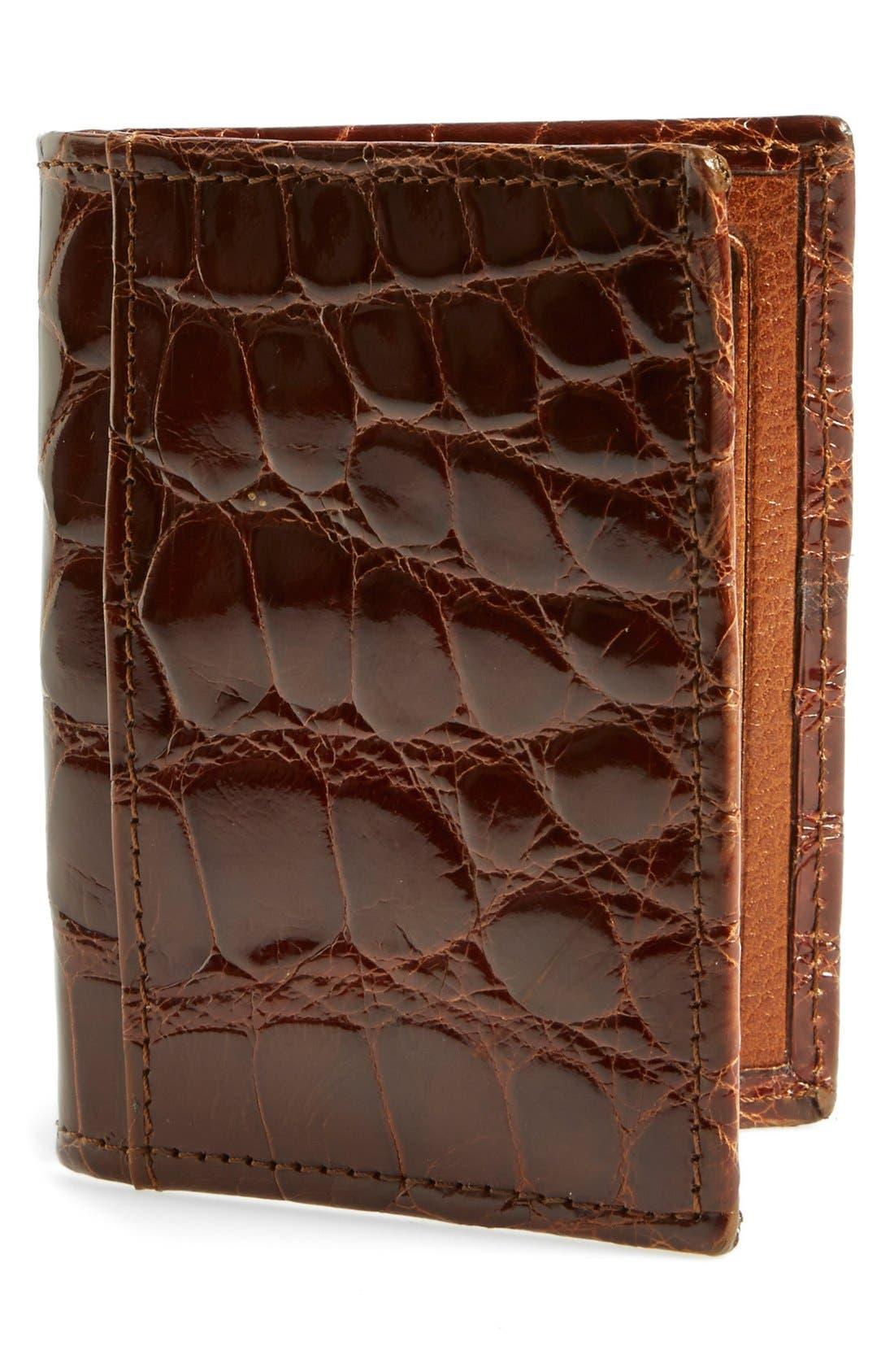 'Joseph' Genuine American Alligator Leather ID Wallet,                             Main thumbnail 1, color,                             COGNAC