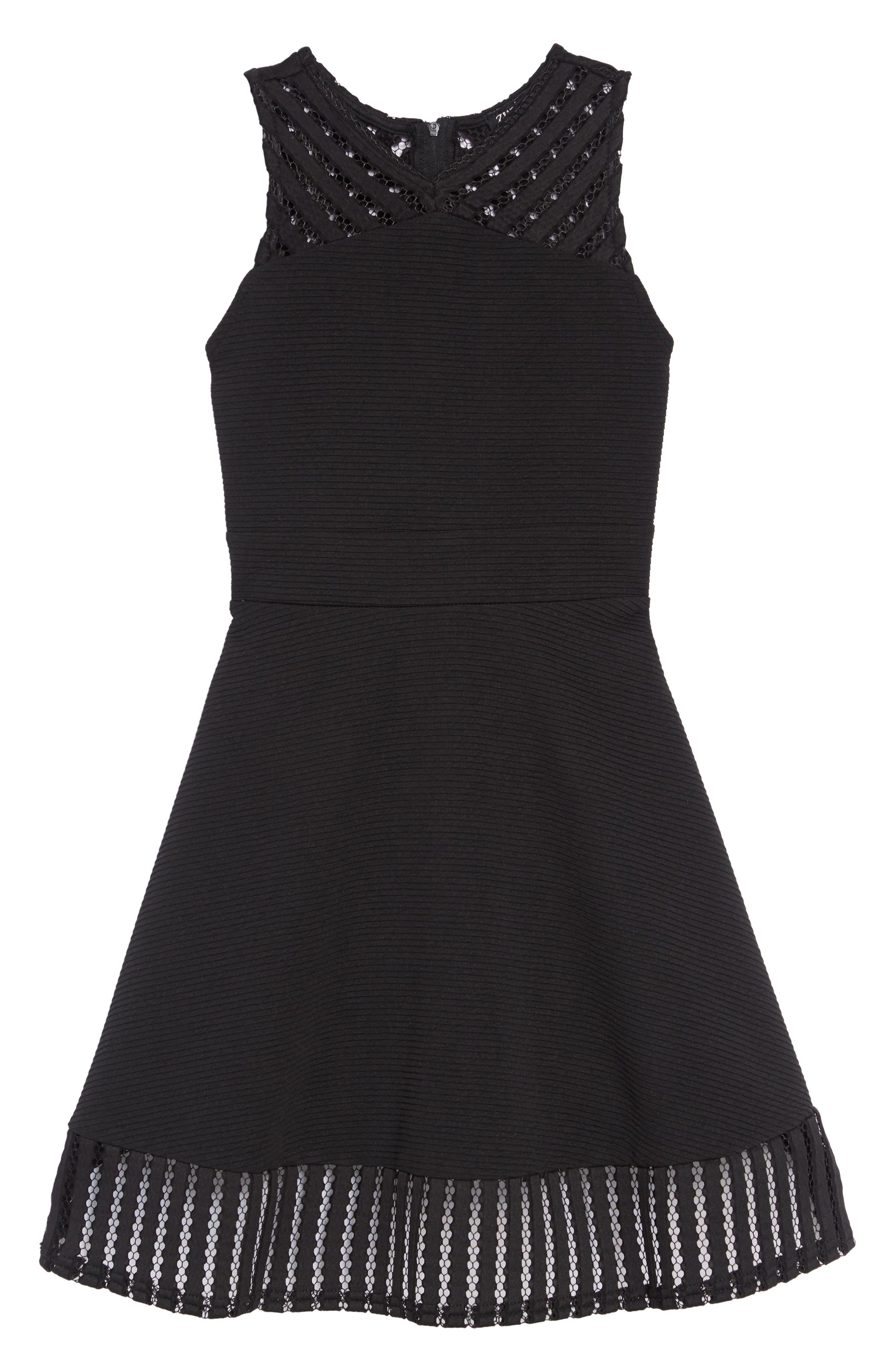 Twin Texture Skater Dress,                             Main thumbnail 1, color,                             BLACK