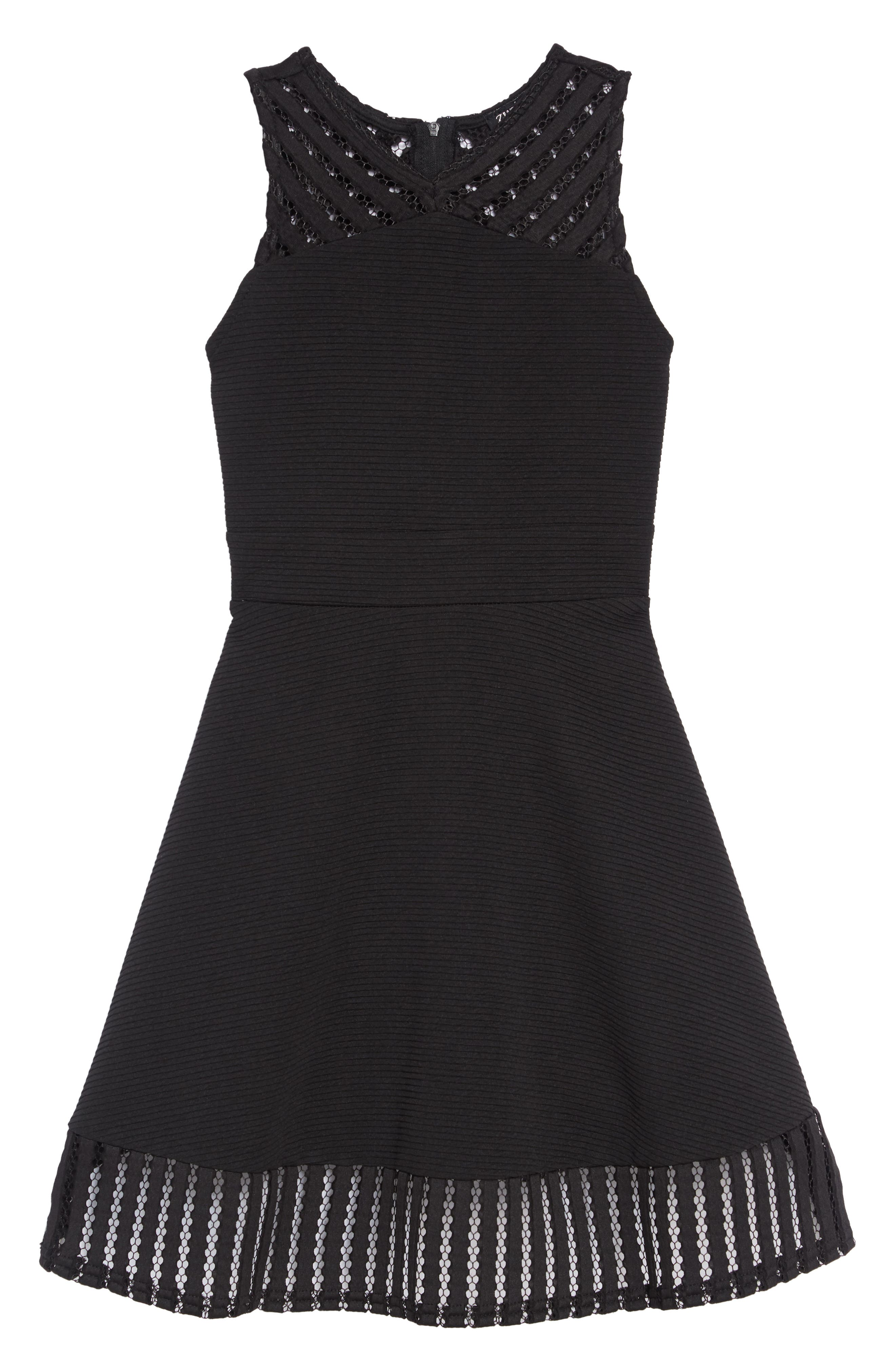 Twin Texture Skater Dress,                         Main,                         color, 001