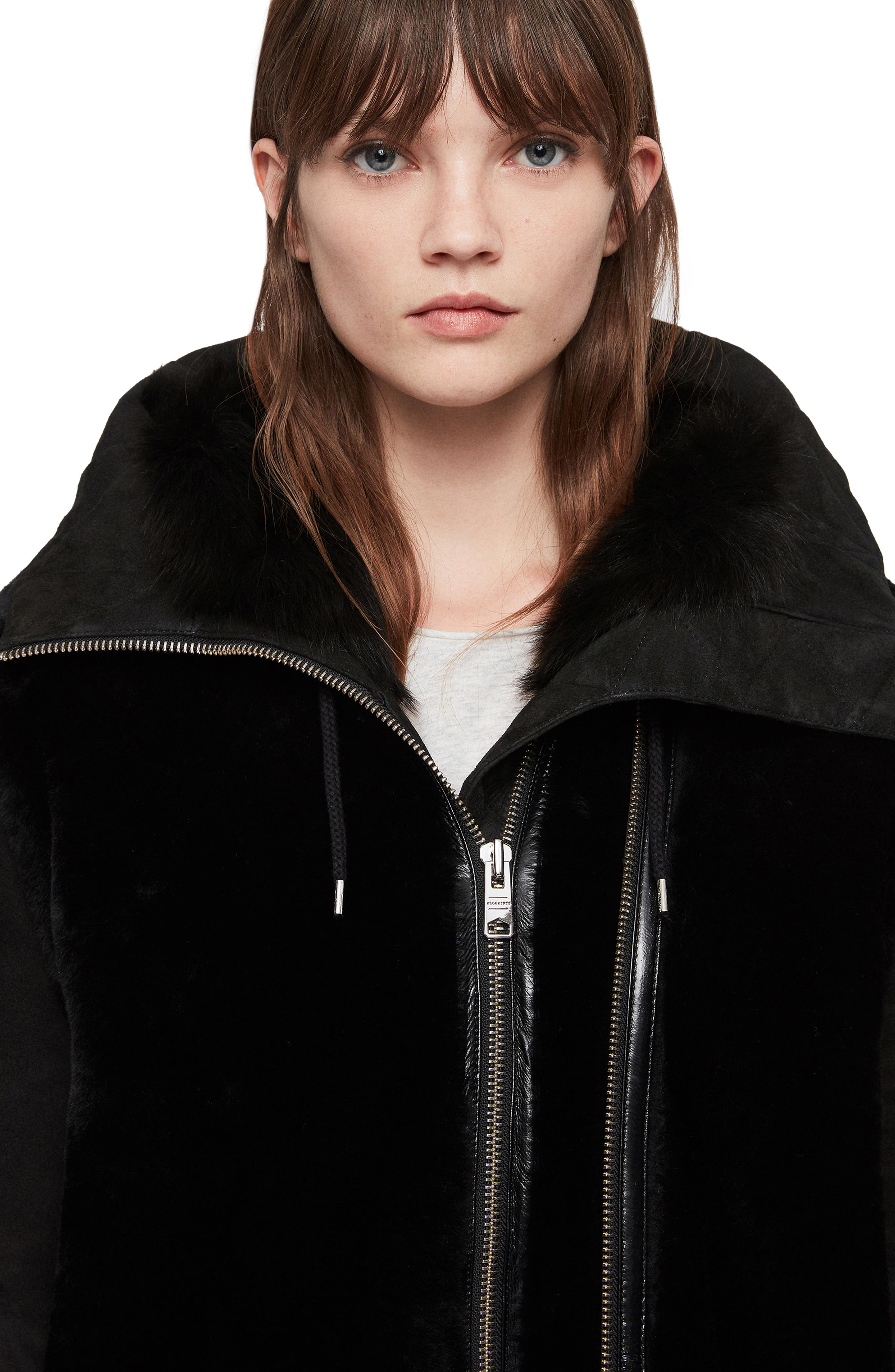 ALLSAINTS,                             State Lux Suede Parka with Genuine Shearling Trim,                             Alternate thumbnail 4, color,                             002