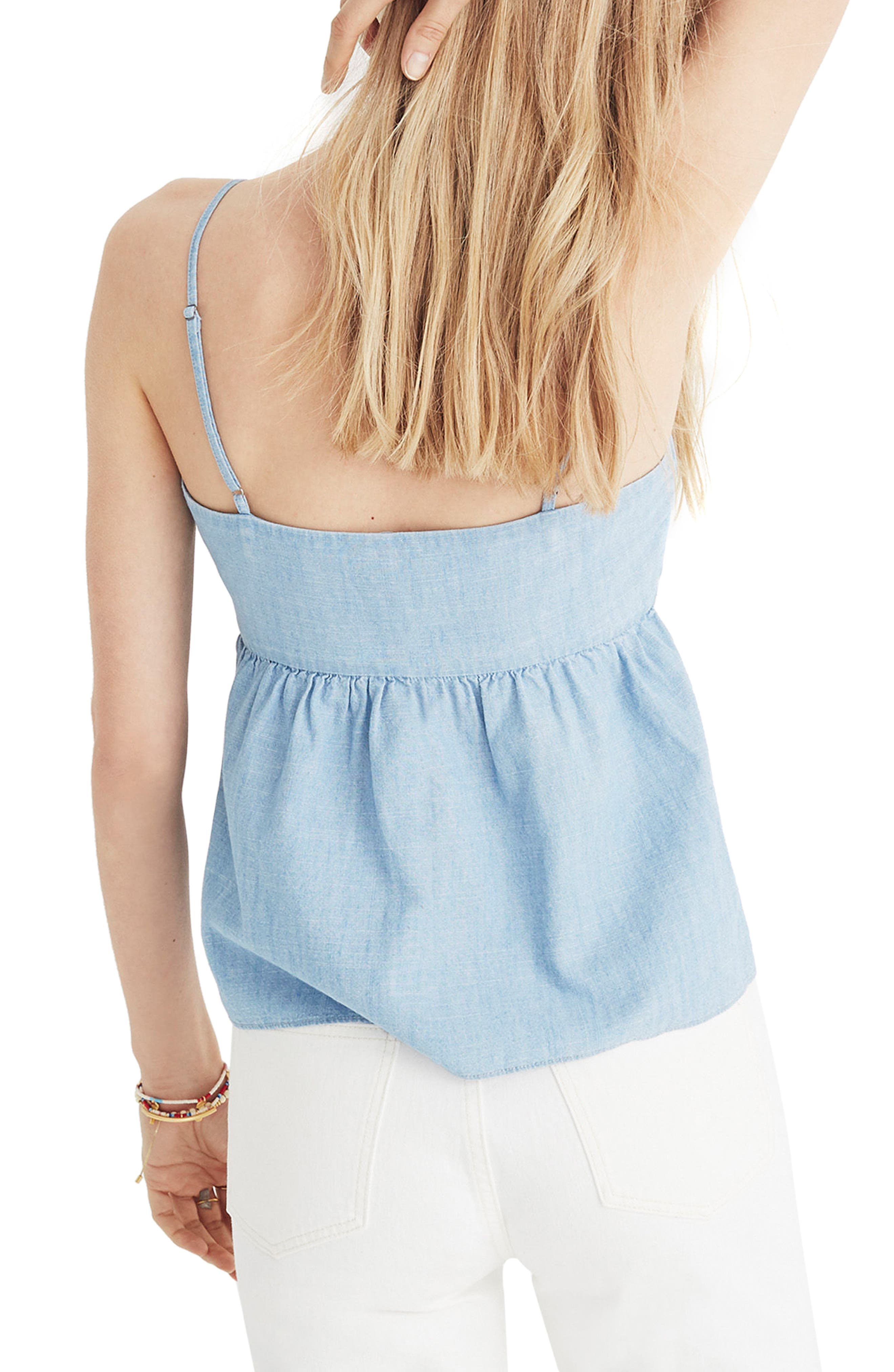 Tie Front Keyhole Chambray Camisole,                         Main,                         color, CORINNA WASH