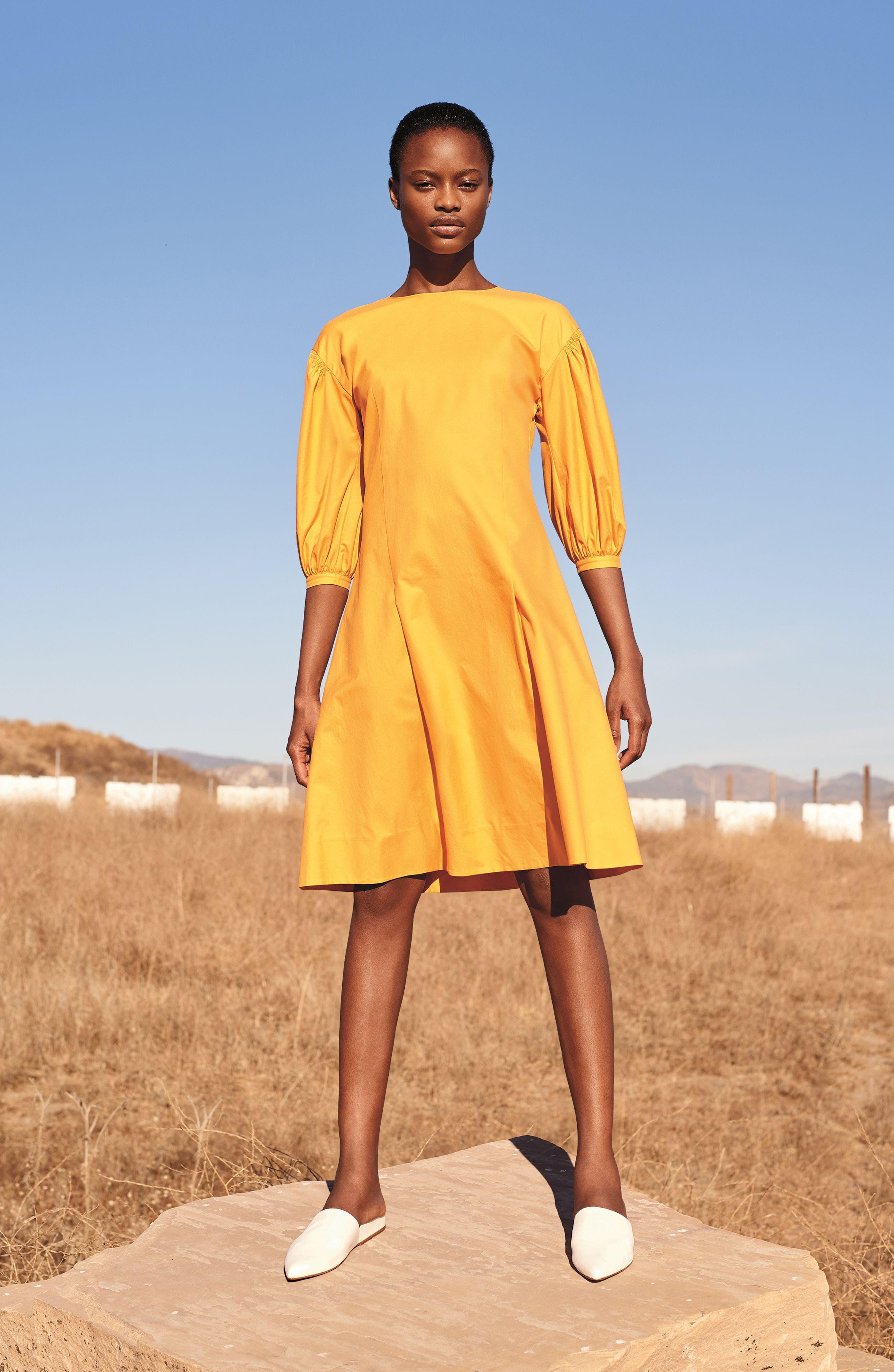 Blouson Sleeve A-Line Twill Dress,                             Alternate thumbnail 7, color,                             410