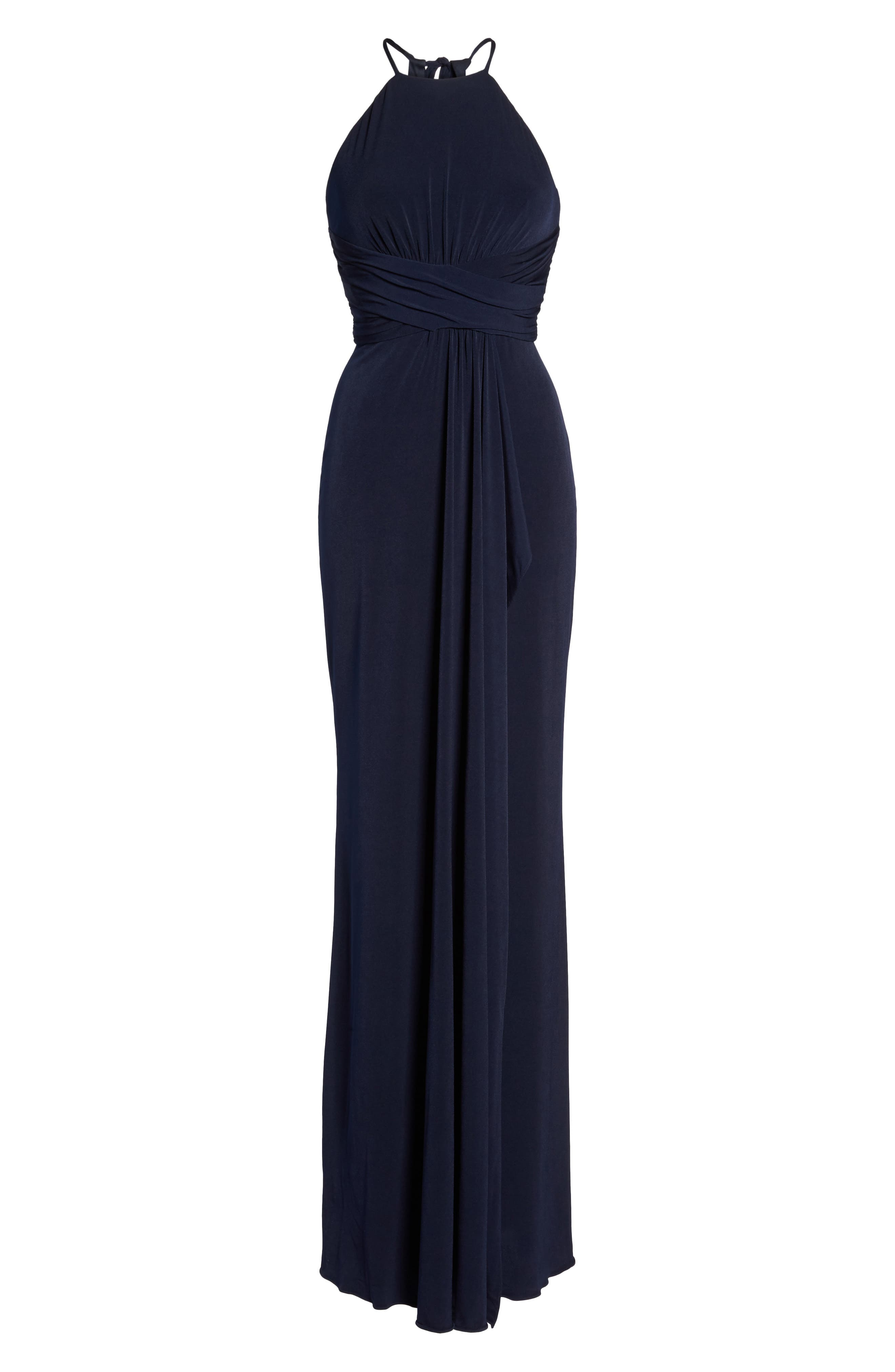 Jones Ruched Halter Gown,                             Alternate thumbnail 6, color,                             410