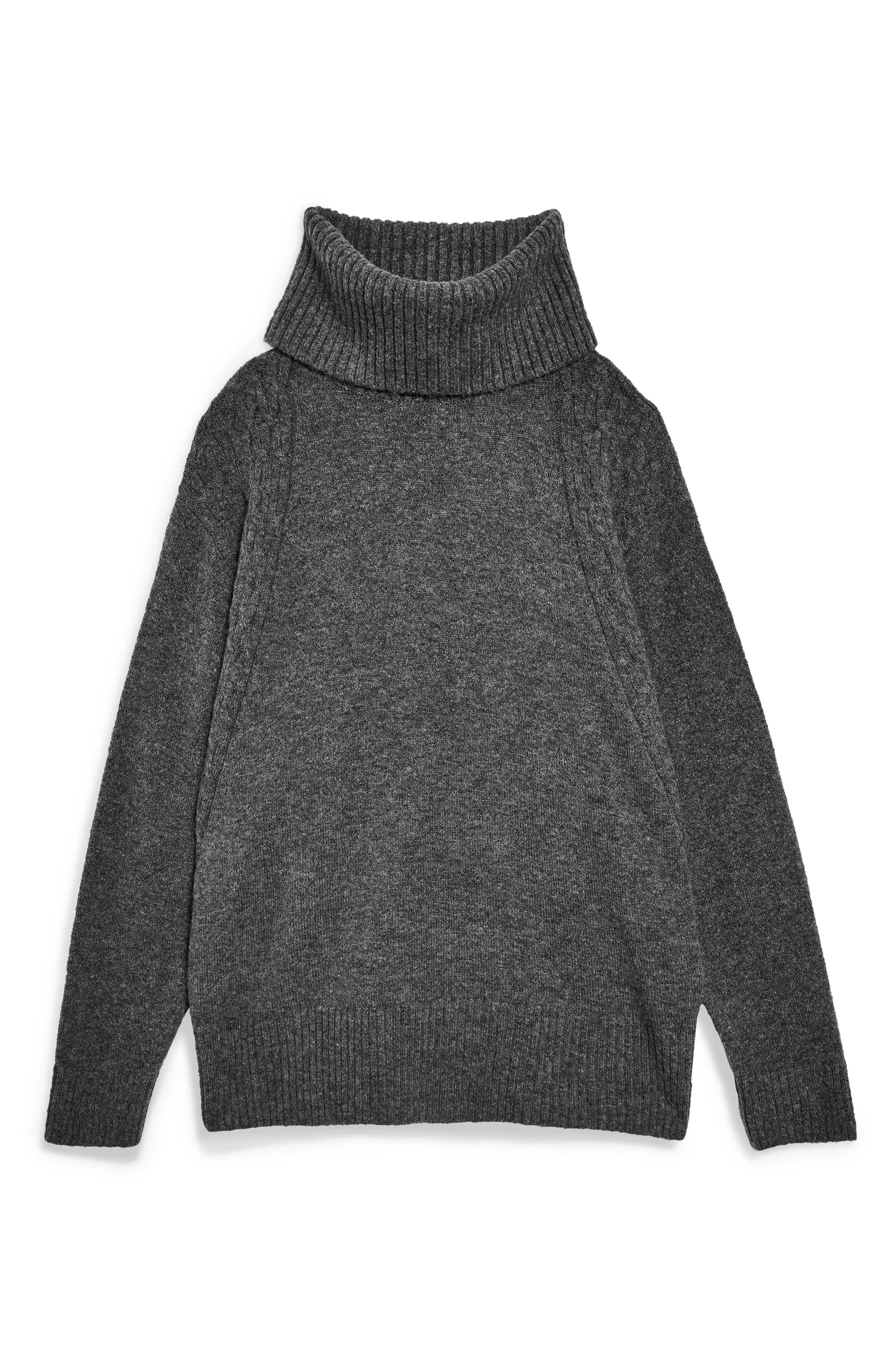 TOPSHOP,                             Turtleneck Sweater,                             Alternate thumbnail 3, color,                             CHARCOAL