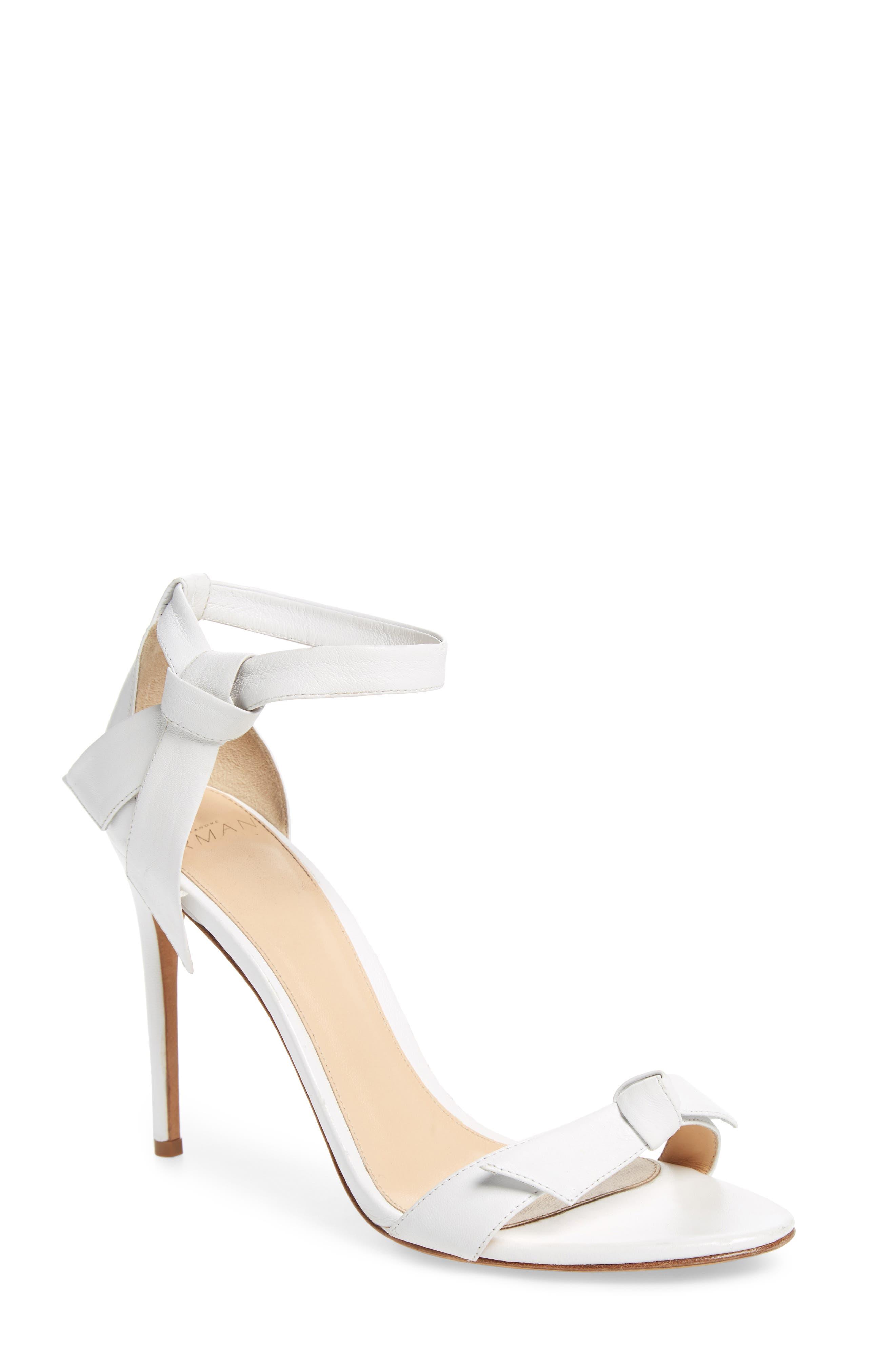 'Clarita' Ankle Tie Sandal,                             Main thumbnail 1, color,                             WHITE LEATHER