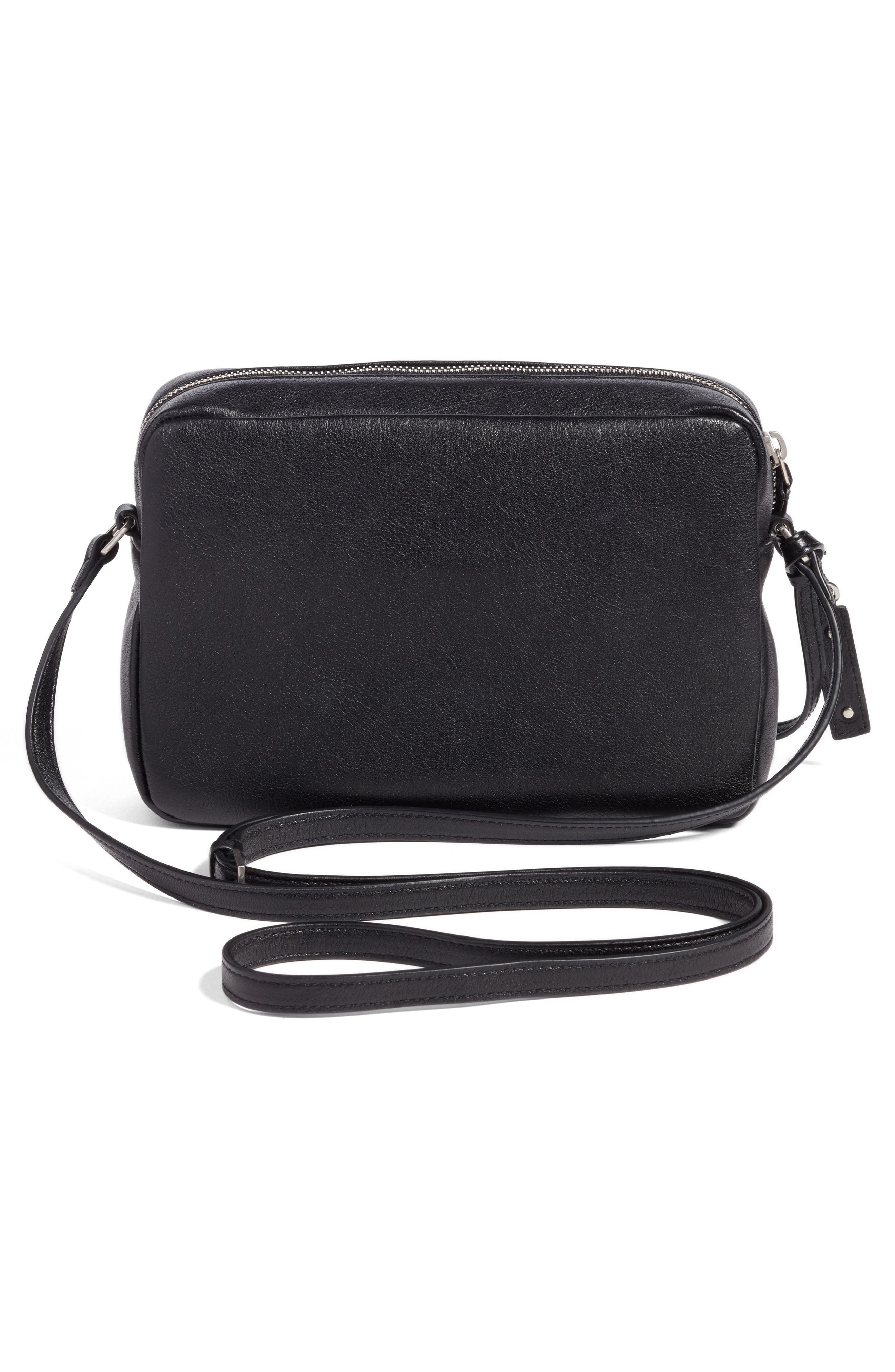Small Mono Leather Camera Bag,                             Alternate thumbnail 3, color,                             NOIR