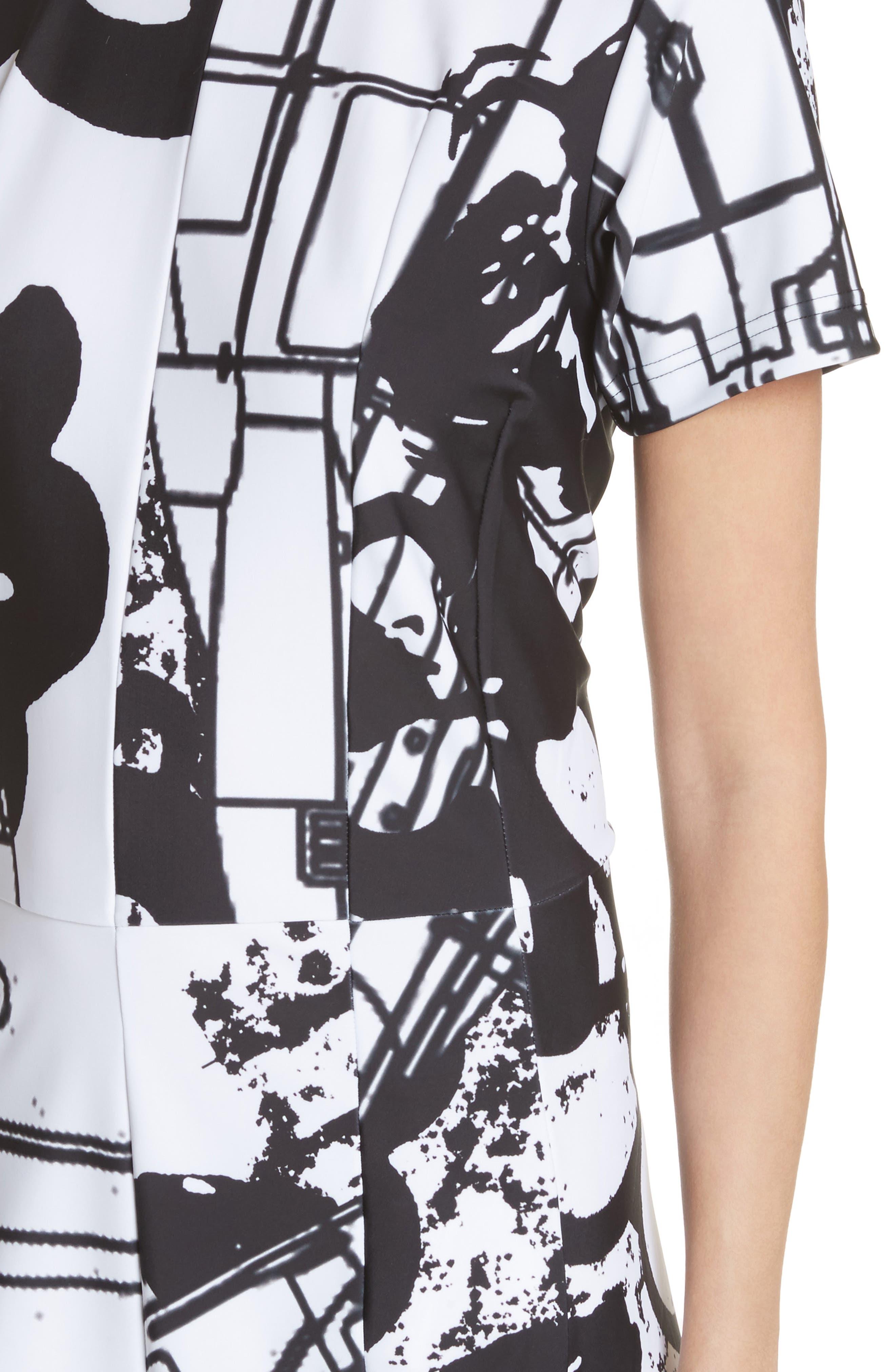Graffiti Print T-Shirt Dress,                             Alternate thumbnail 4, color,                             100